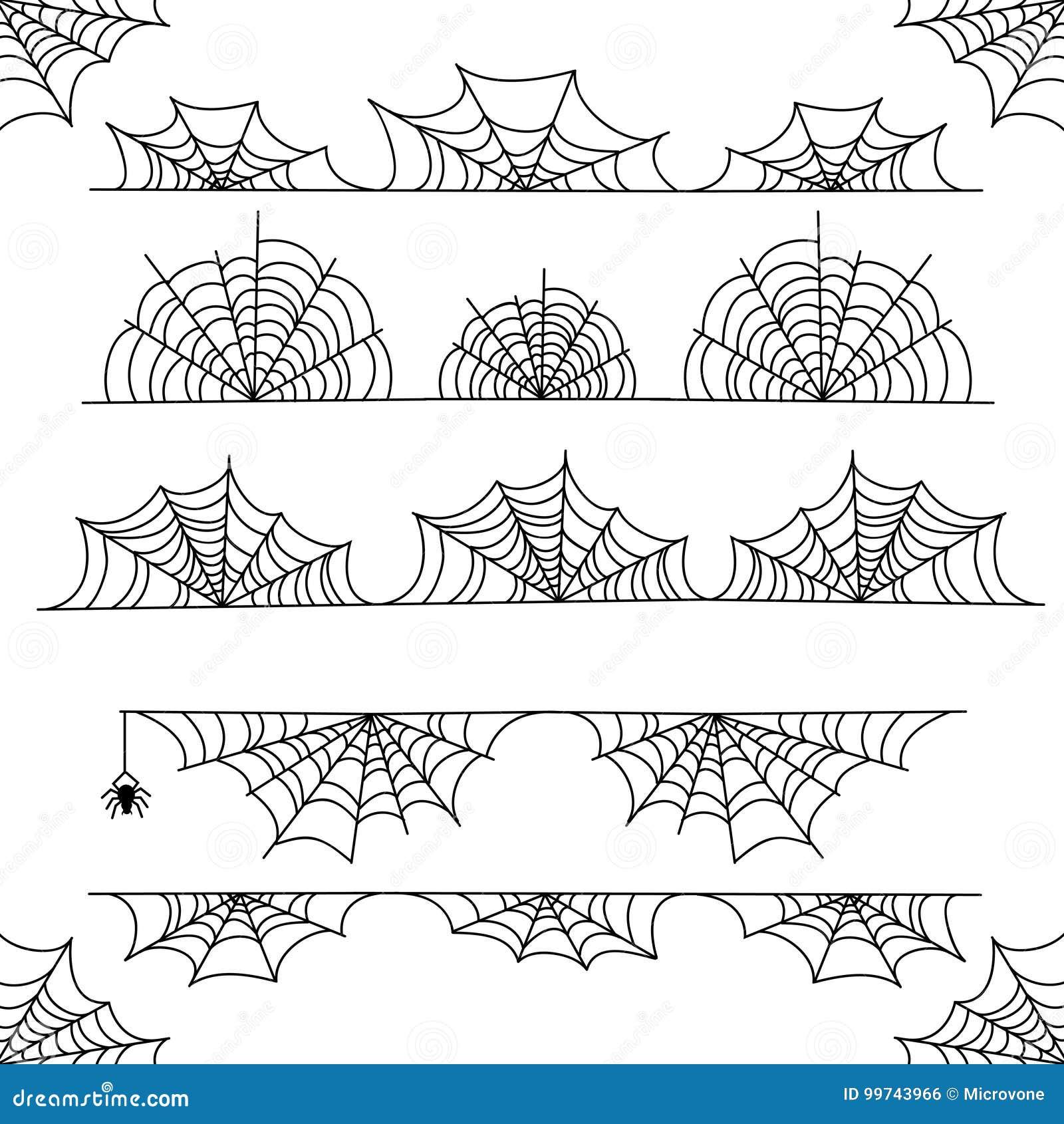 Frontera y divisores del marco del vector de la telaraña de Halloween con el web de araña
