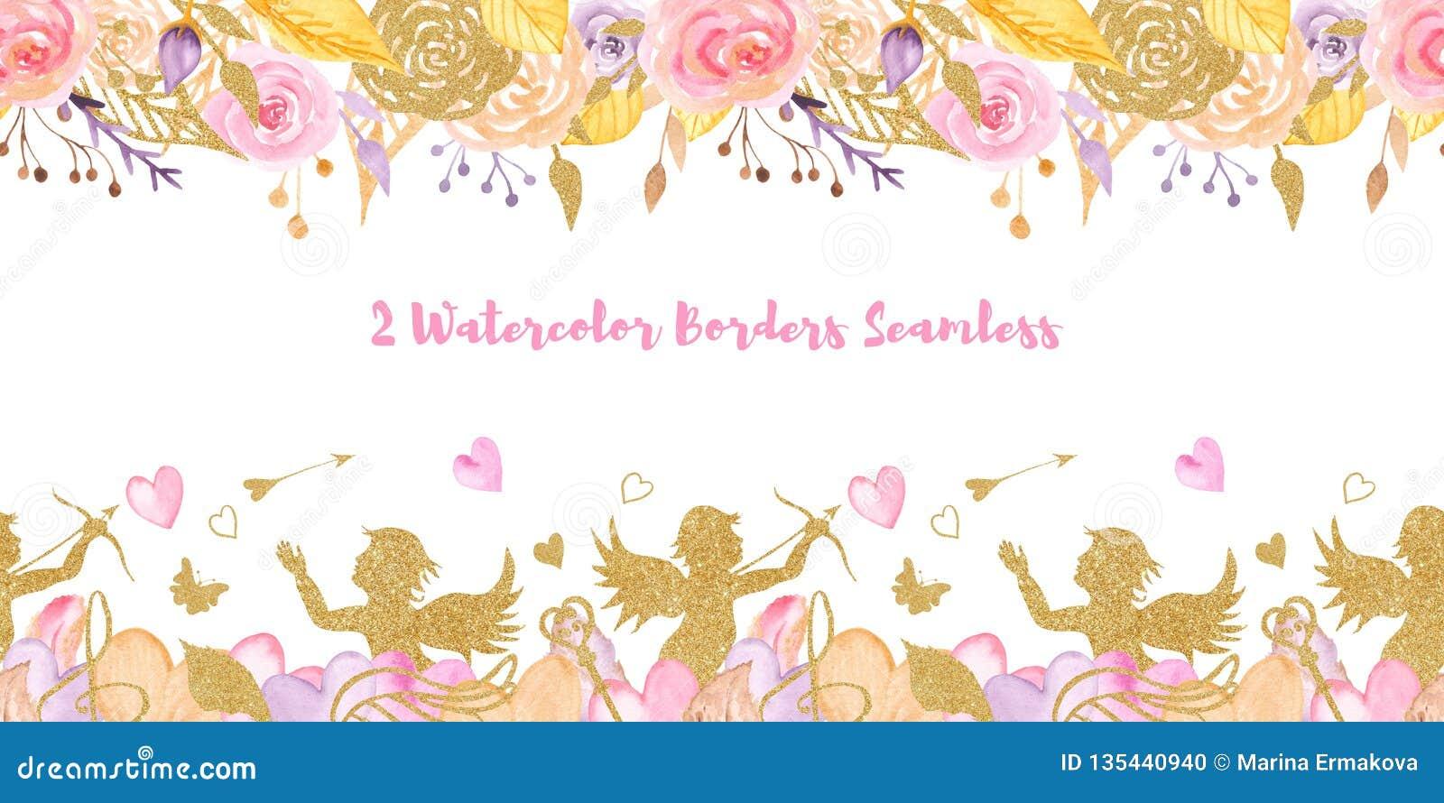 2 fronteras inconsútiles del día de tarjeta del día de San Valentín de la acuarela