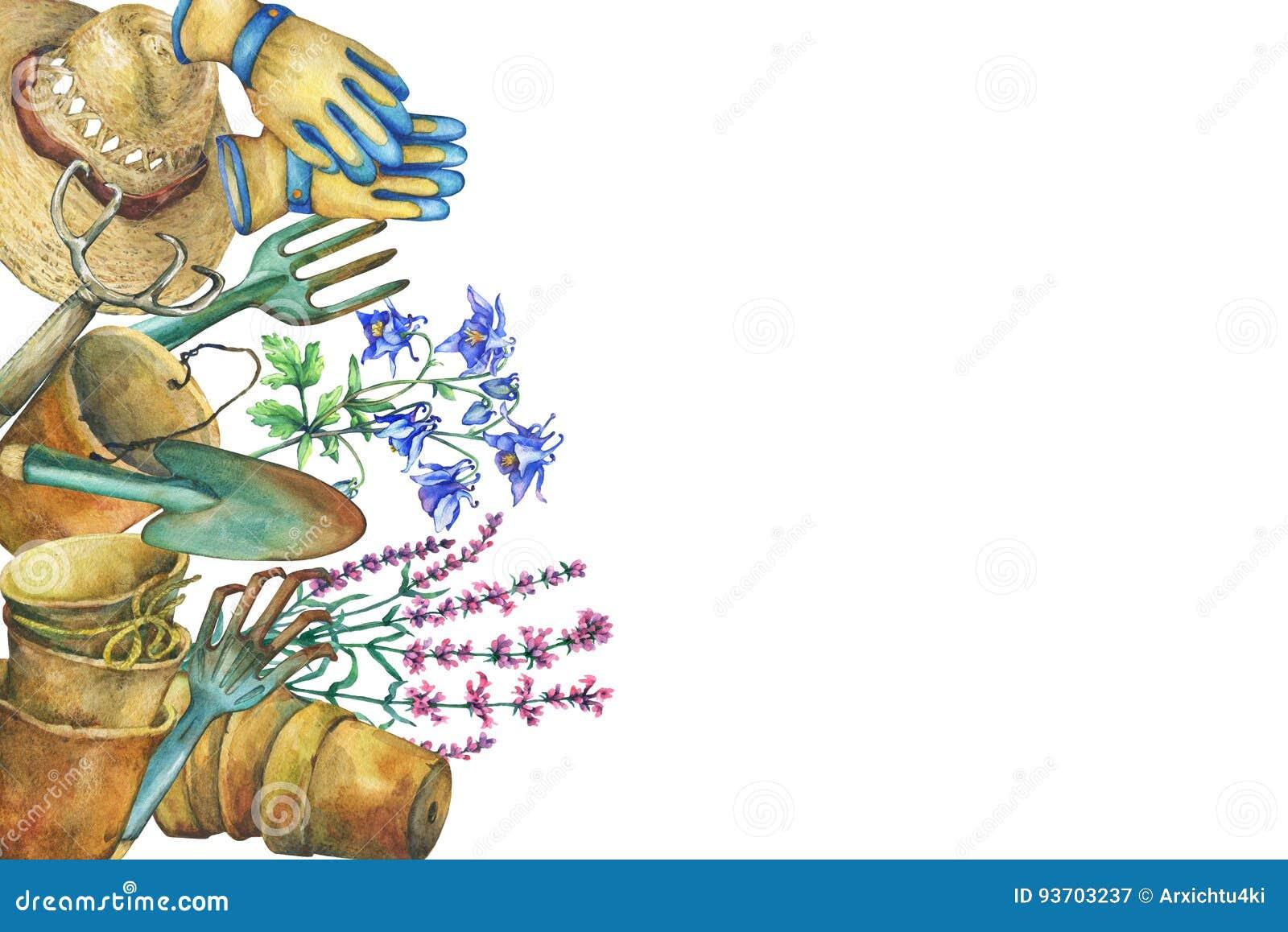 Frontière Avec Les Outils De Jardinage Le Chapeau Solaire Les