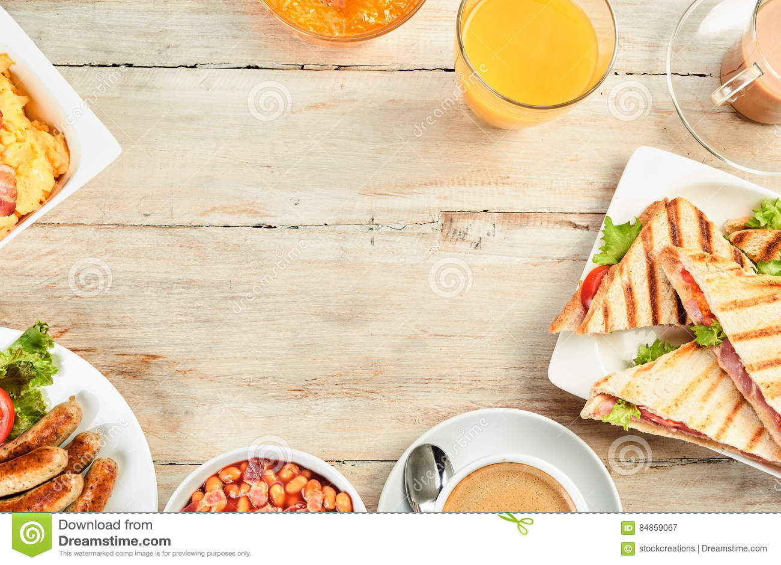 Frontière chaleureuse de petit déjeuner anglais avec l espace de copie 781fb17e23e6