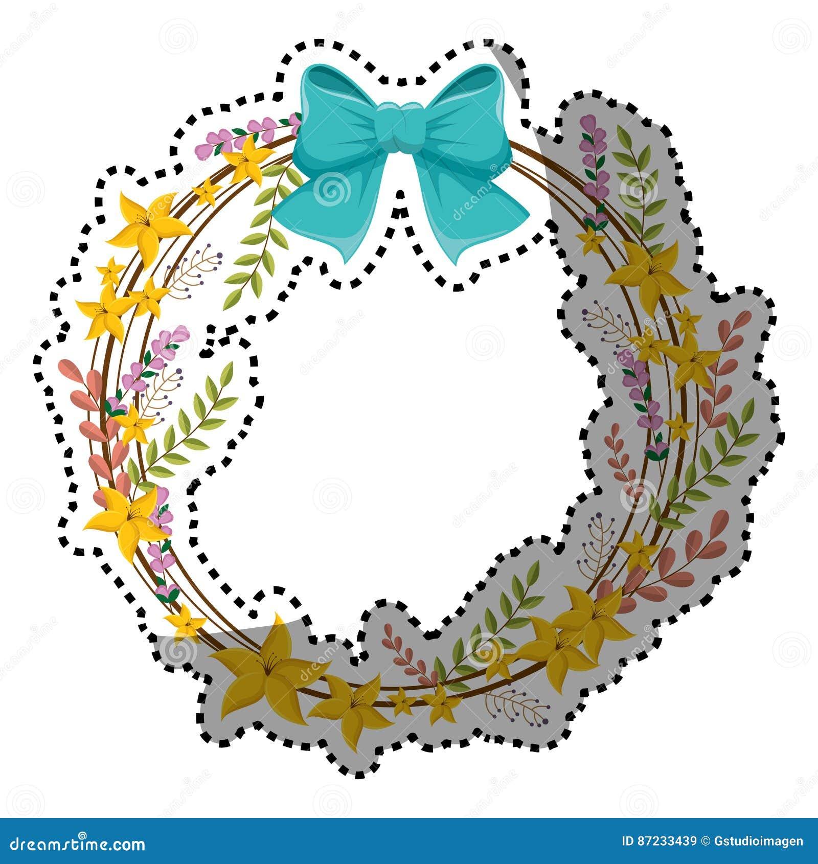 Frontière circulaire d autocollant avec les fleurs jaunes et le ruban bleu