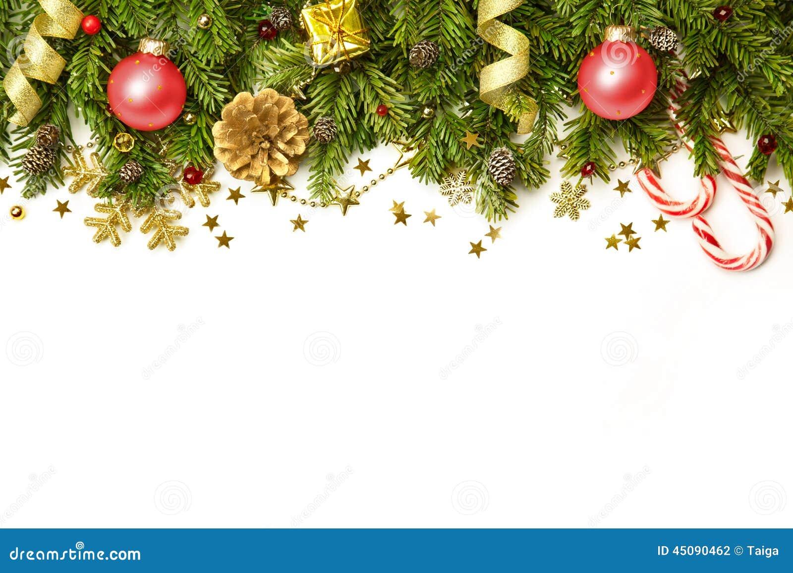 Frontière de décorations de Noël d isolement sur le fond blanc