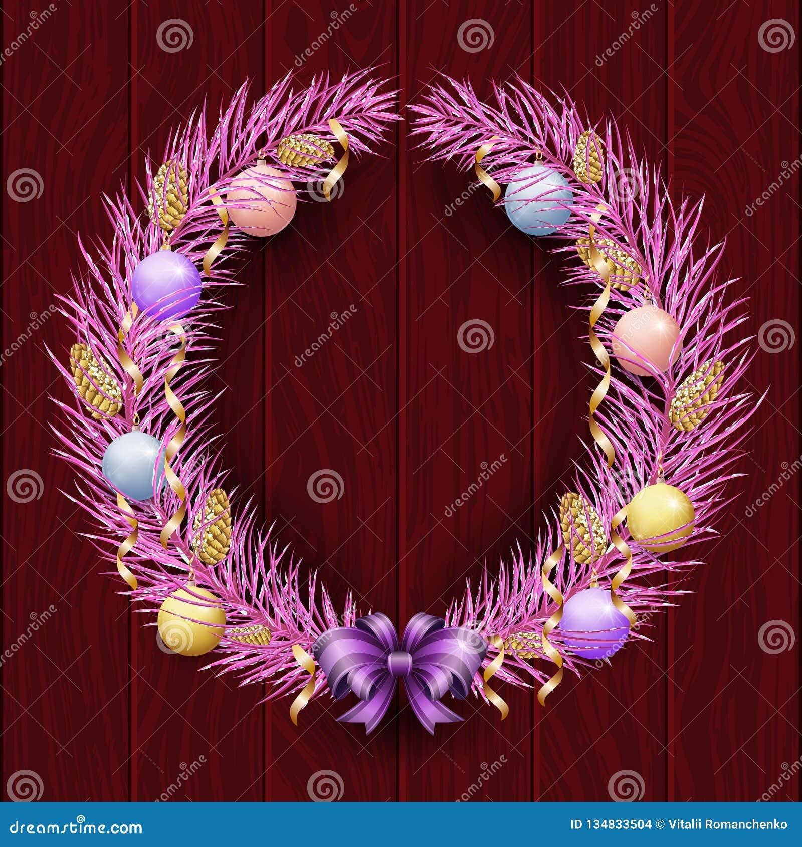 Frontière de guirlande de Noël Vue du pin violet Joyeux Noël et bonne année 2019 Branches pourpres d un arbre de Noël dans