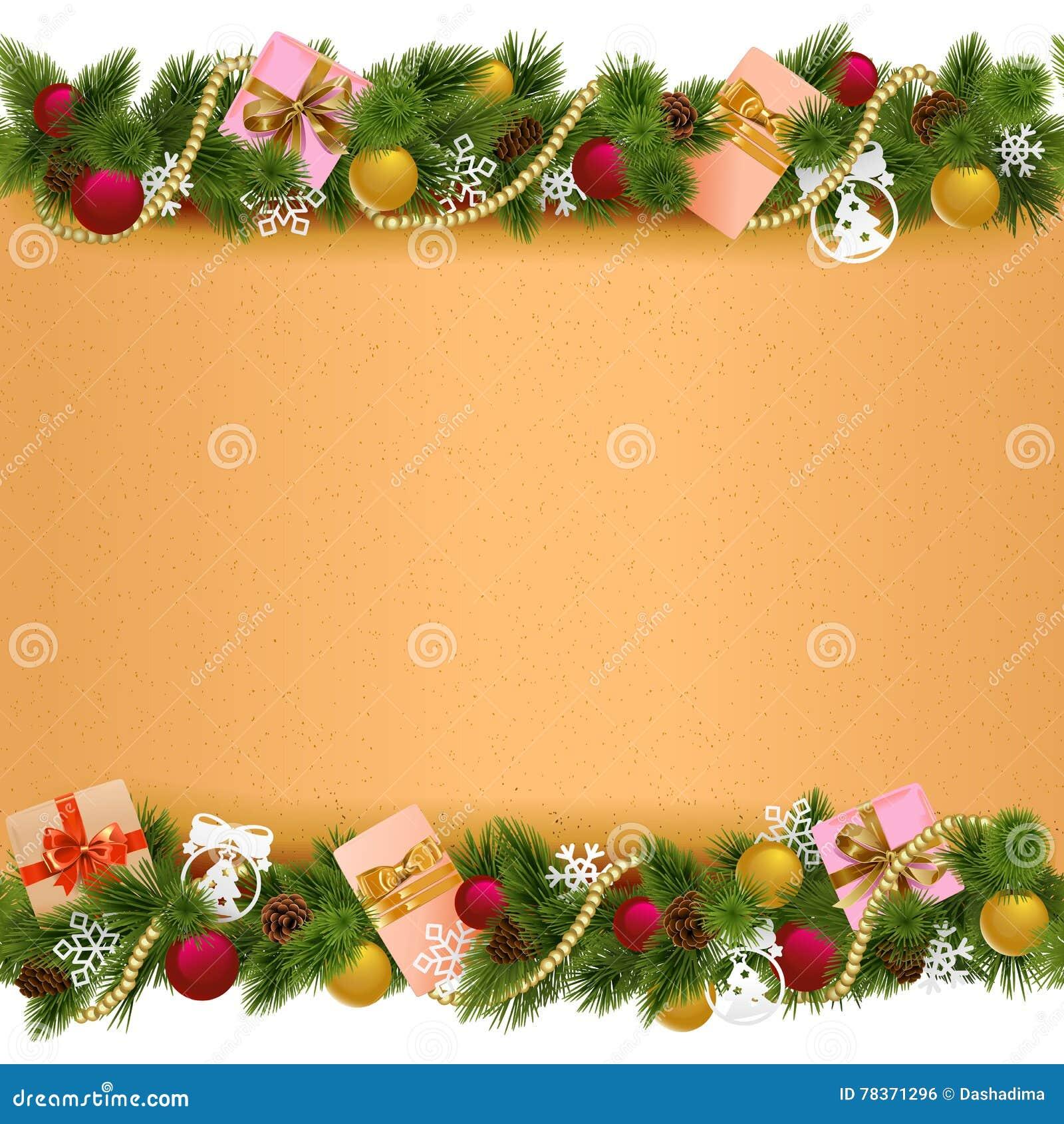 Frontière de Noël de vecteur avec le rouleau de papier