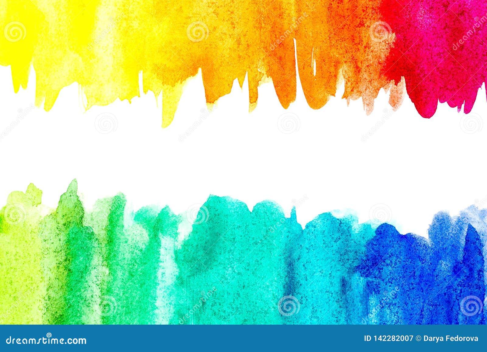 Frontière de peinture abstraite de main d art d aquarelle sur le fond blanc Fond d aquarelle