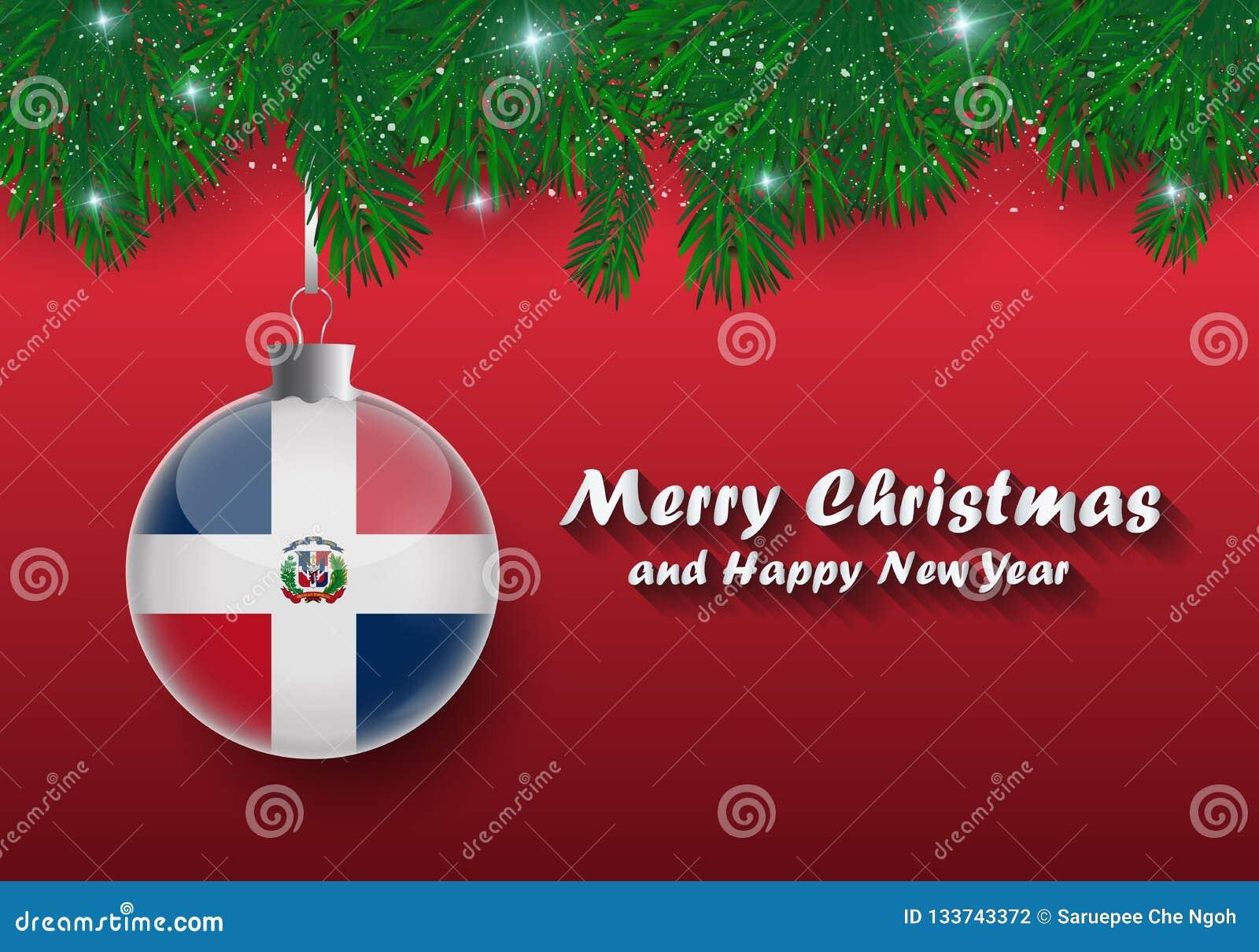 Frontière de vecteur des branches et de la boule d arbre de Noël avec le dominicain