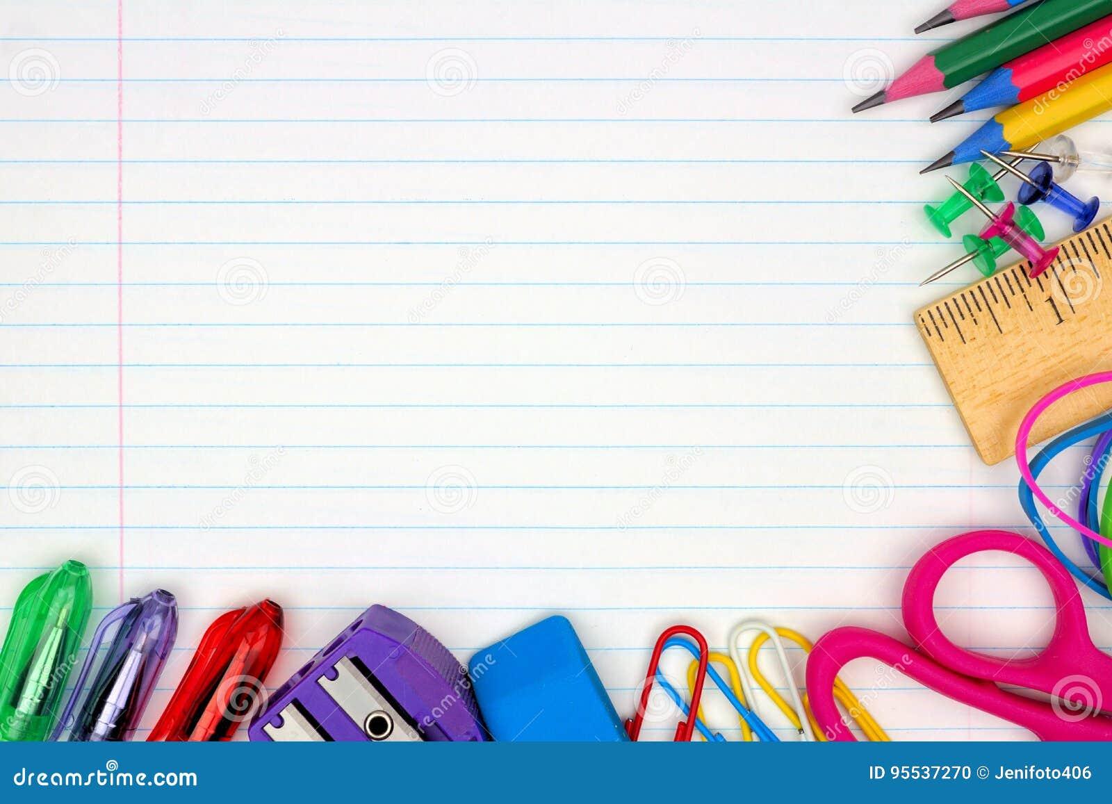Frontière faisante le coin de fournitures scolaires sur le fond de papier rayé