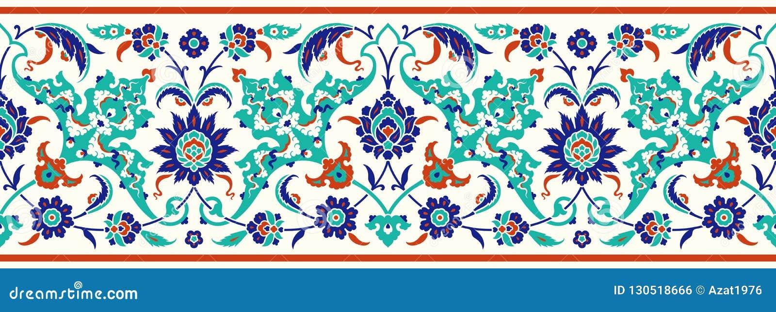 Frontière florale pour votre conception Ornement sans couture d ï de ¿ de tabouret turc traditionnel de ½ Iznik