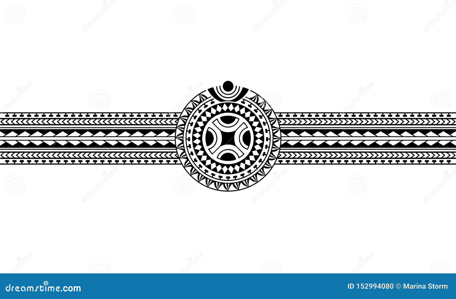 Frontiere Polynesienne Maorie De Tatouage Avec Le Symbole Du Soleil De Svastika Illustration De Vecteur Illustration Du Symbole Avec 152994080