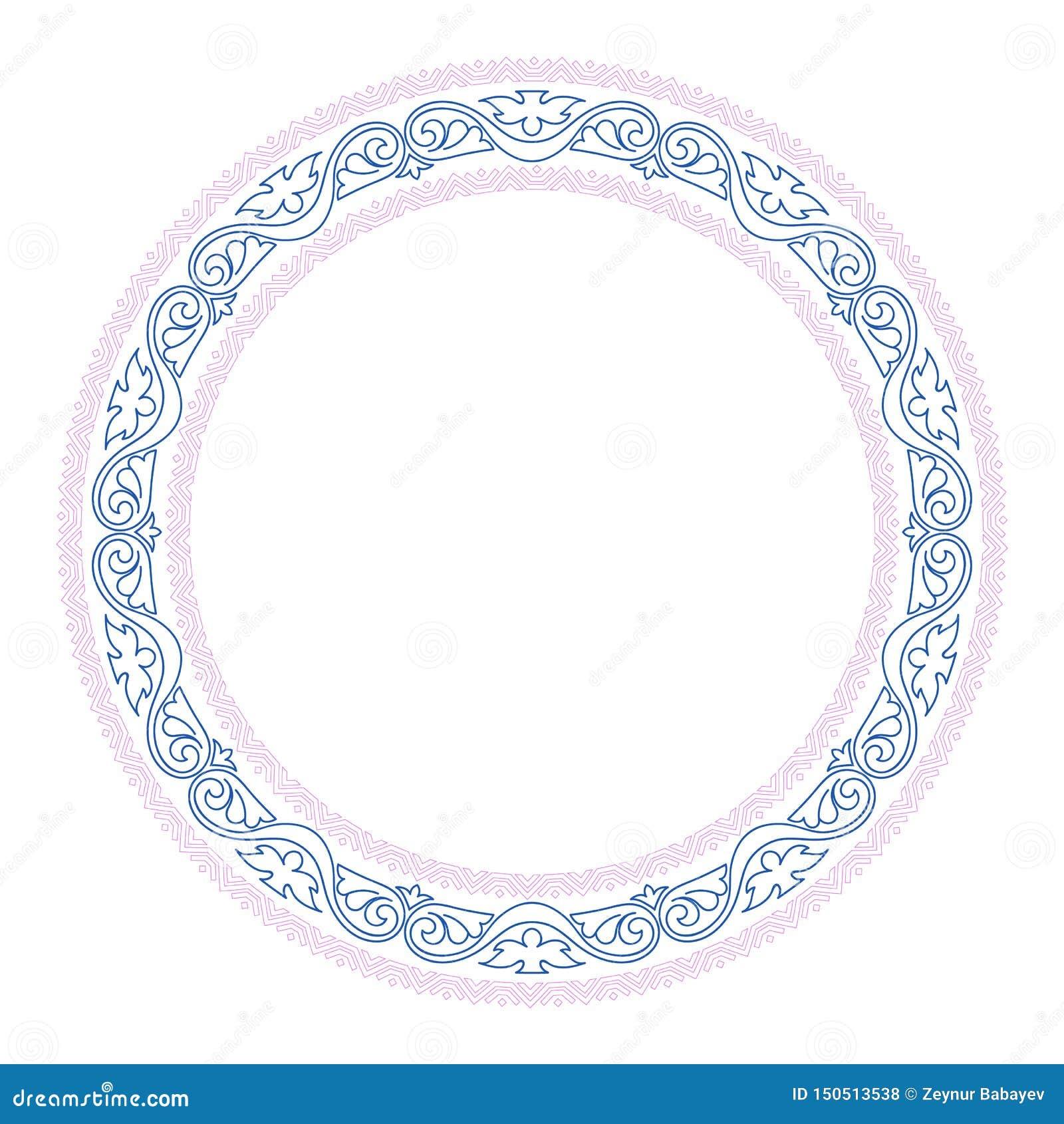 Frontière ronde décorative de cadre avec le style baroque antique pour la conception de plat Illustration de vecteur