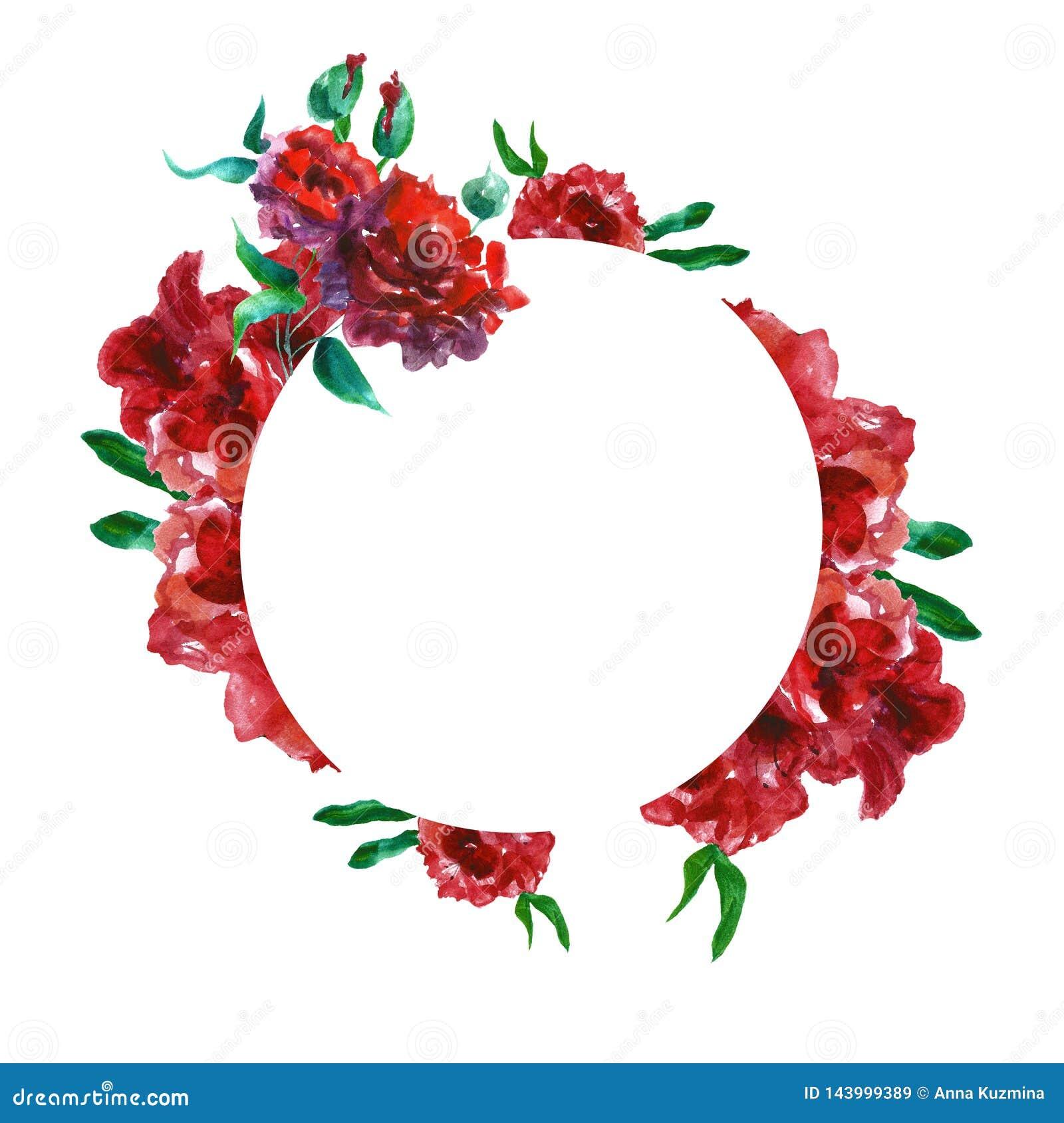 Frontière ronde florale d aquarelle avec les fleurs peintes à la main de roses rouges avec l espace pour le texte Illustration bo