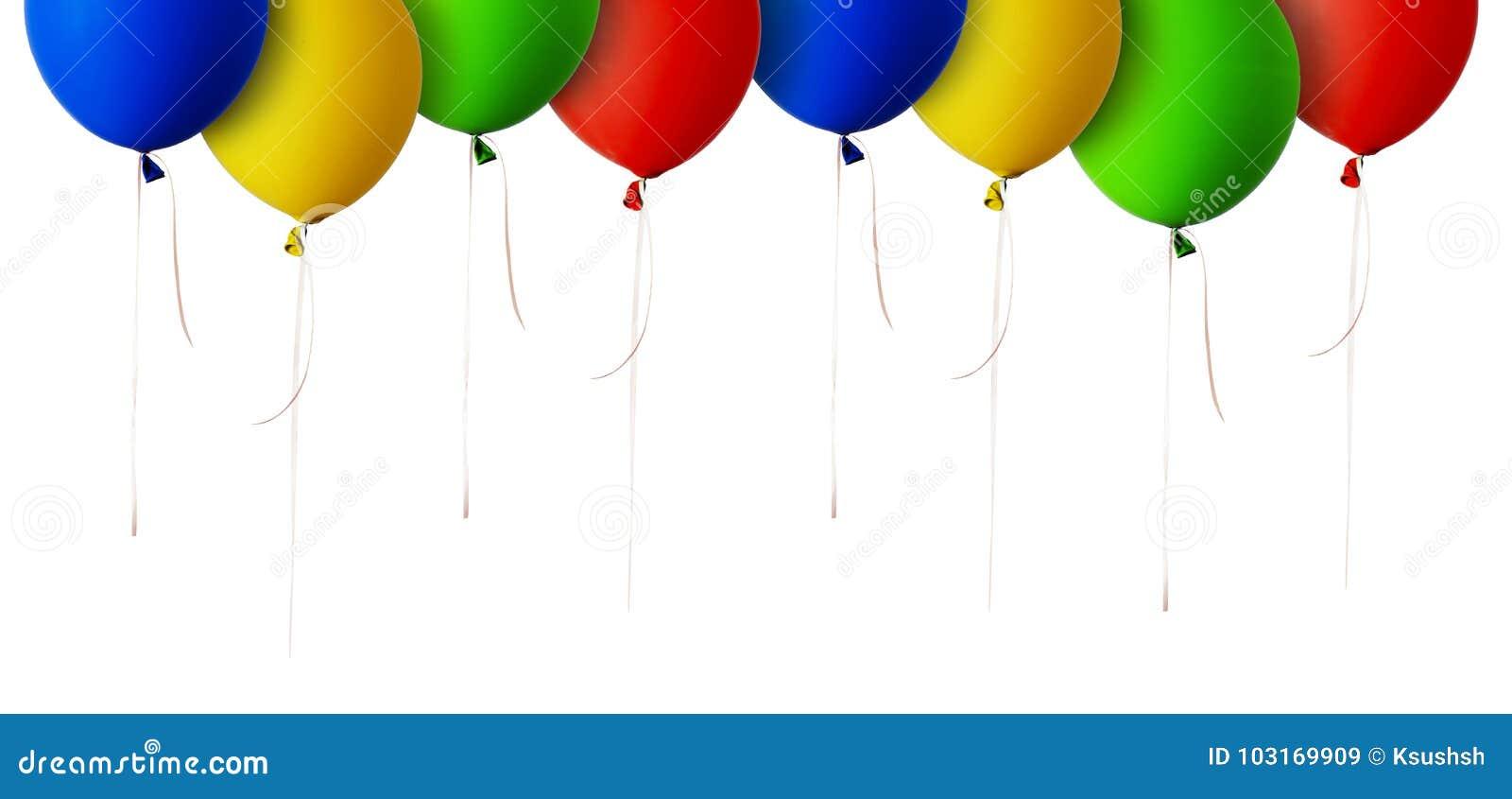 Frontière rouge, bleue, verte et jaune de ballons