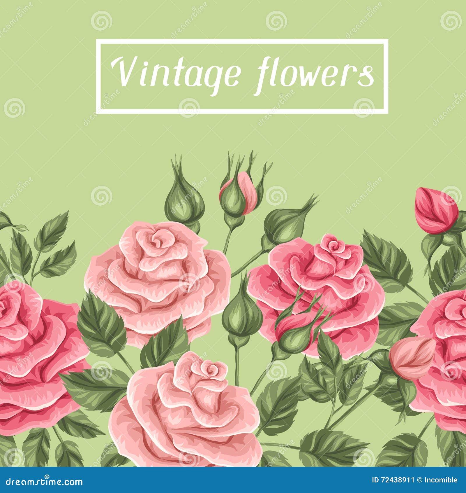 Frontiere Sans Couture Avec Des Roses De Vintage Retros Fleurs