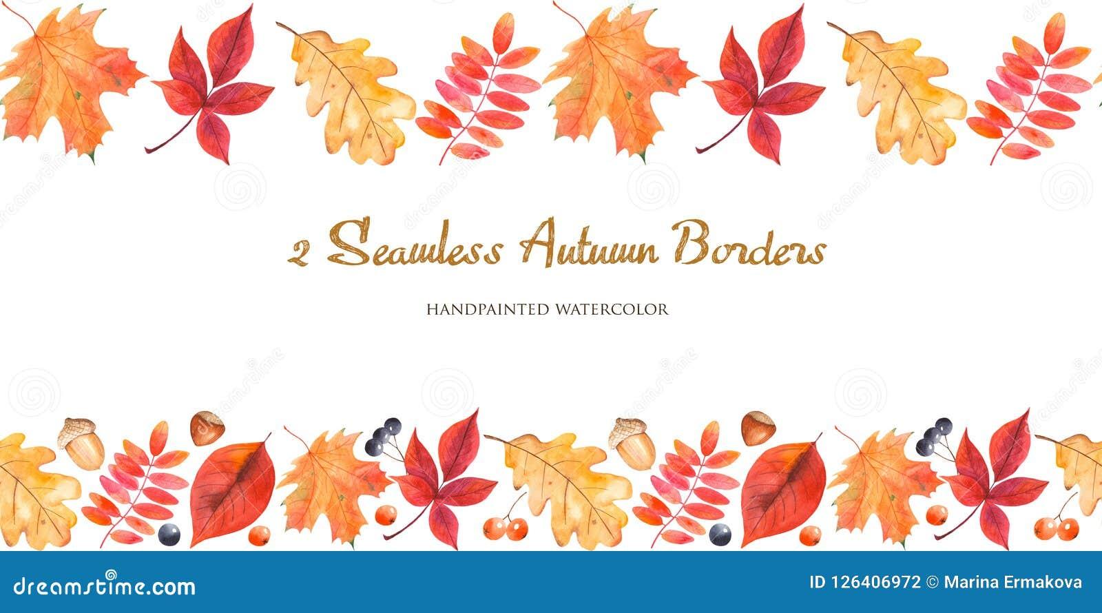 Frontière sans couture de 2 aquarelles avec des feuilles d automne, baies, écrous, glands