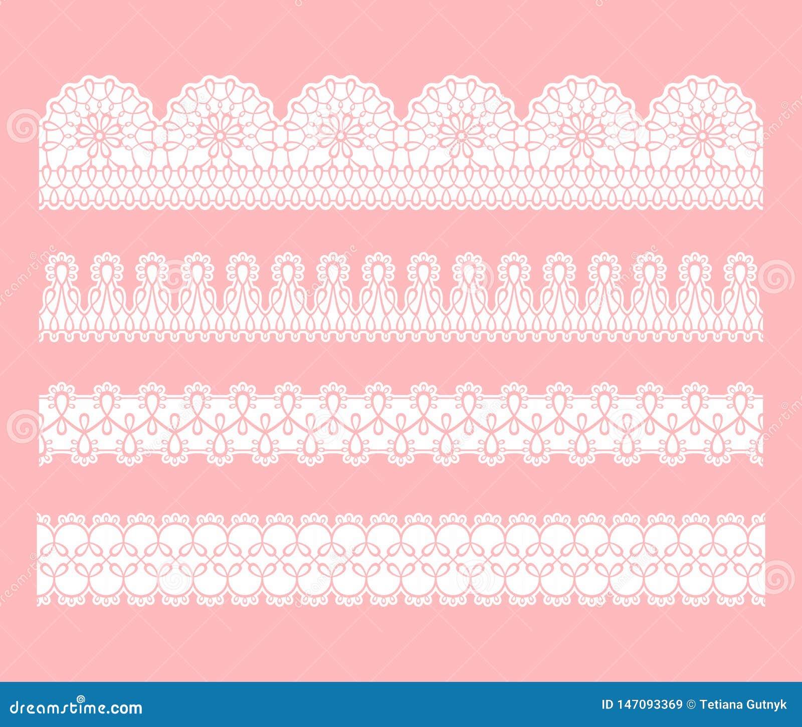 Frontière sans couture de dentelle Placez des rubans blancs de filigrane de dentelle