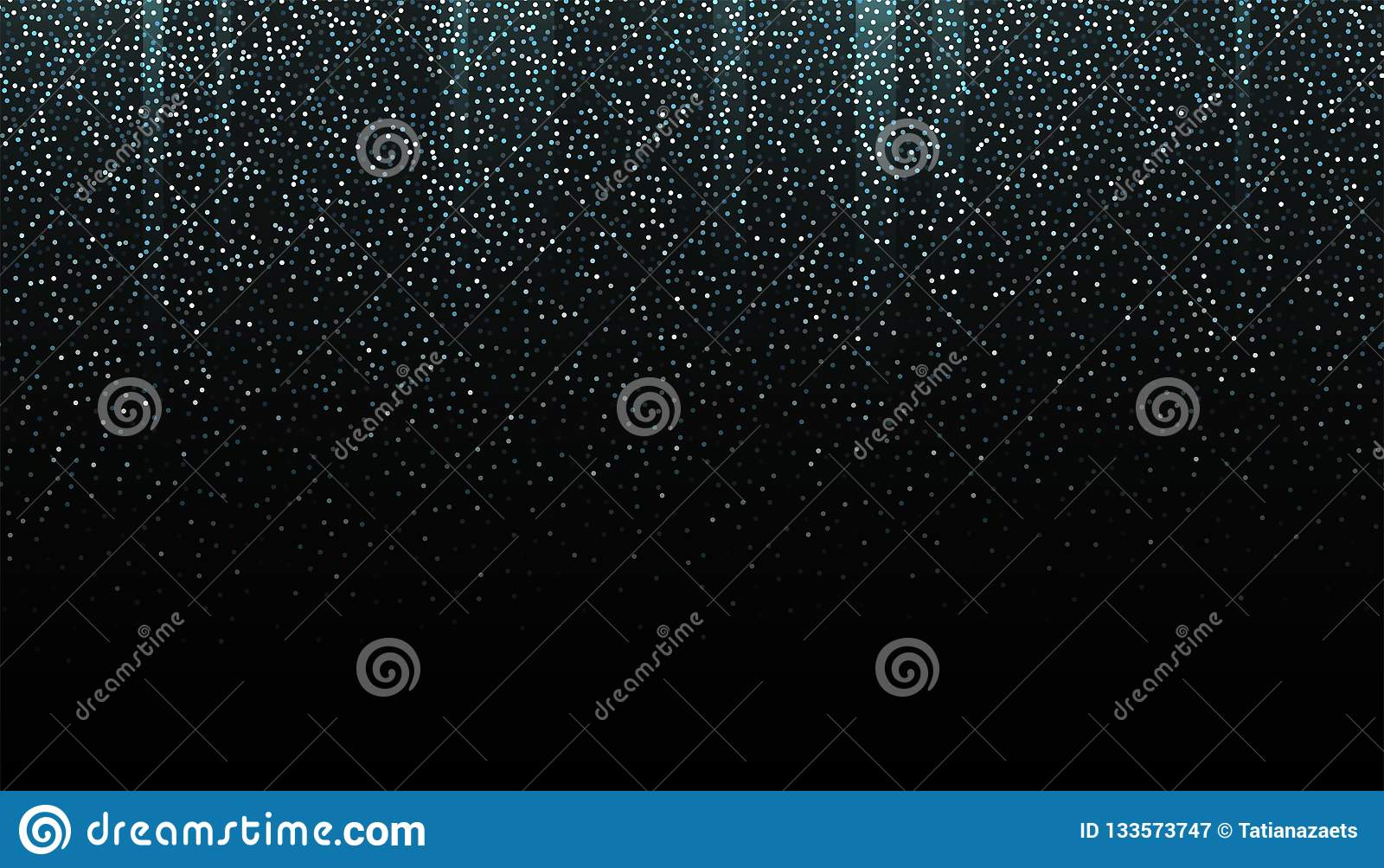 Frontière sans couture de scintillement argenté sur le fond noir Contexte en baisse éclatant de confettis Texture argentée de mir