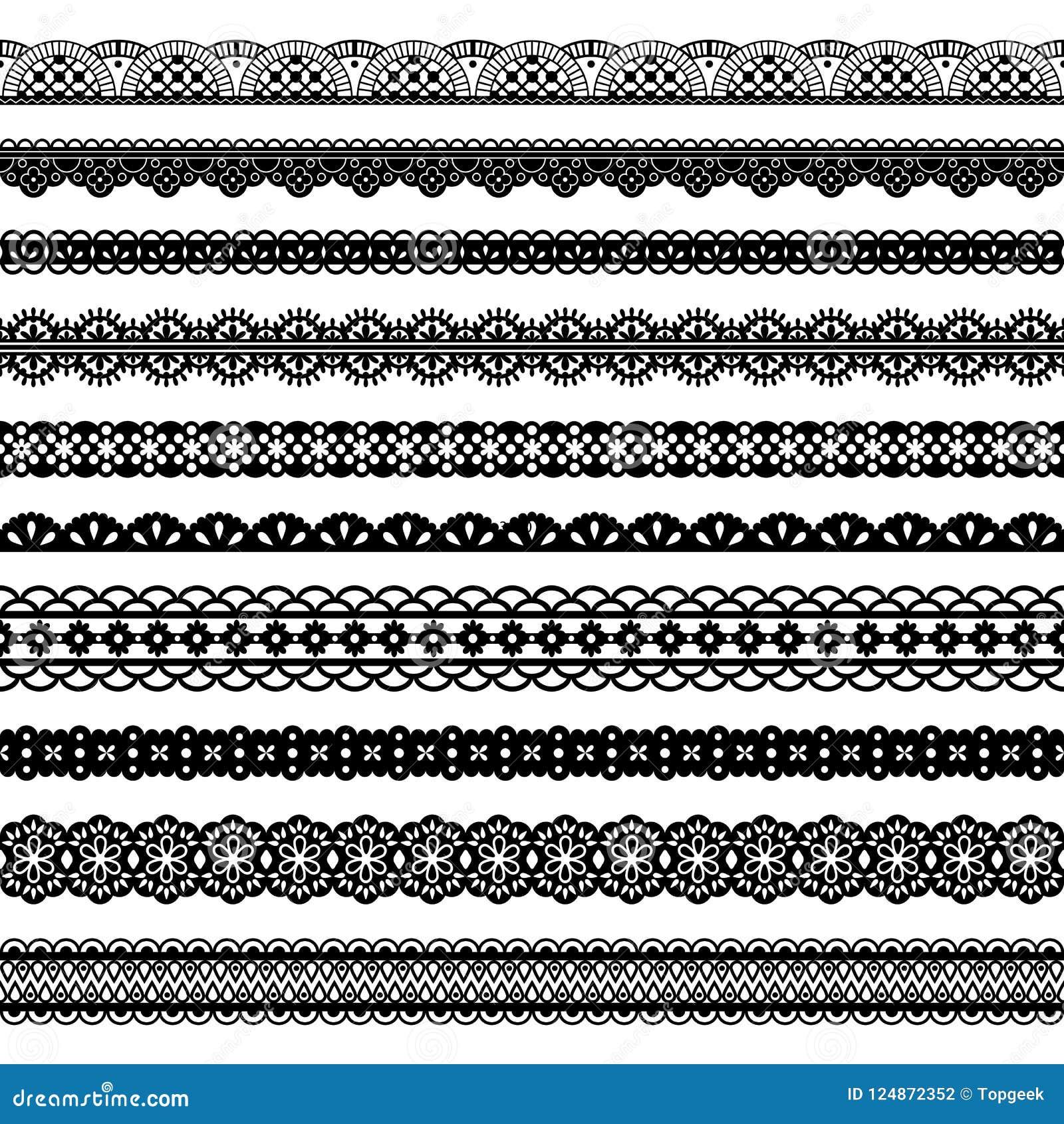 Frontières sans couture de noir horizontal de dentelles de collection