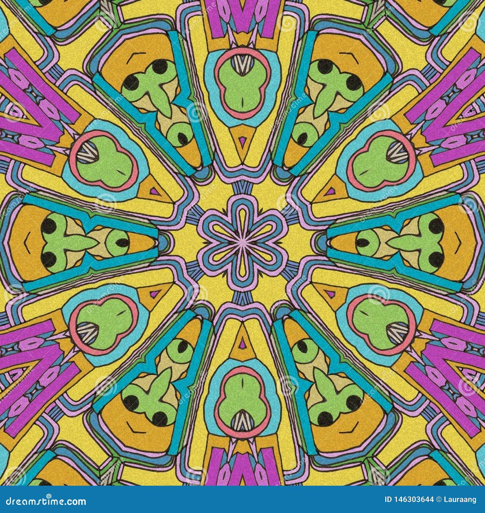 Fronti animati in una forma circolare Gioco dei colori tiraggio astratto