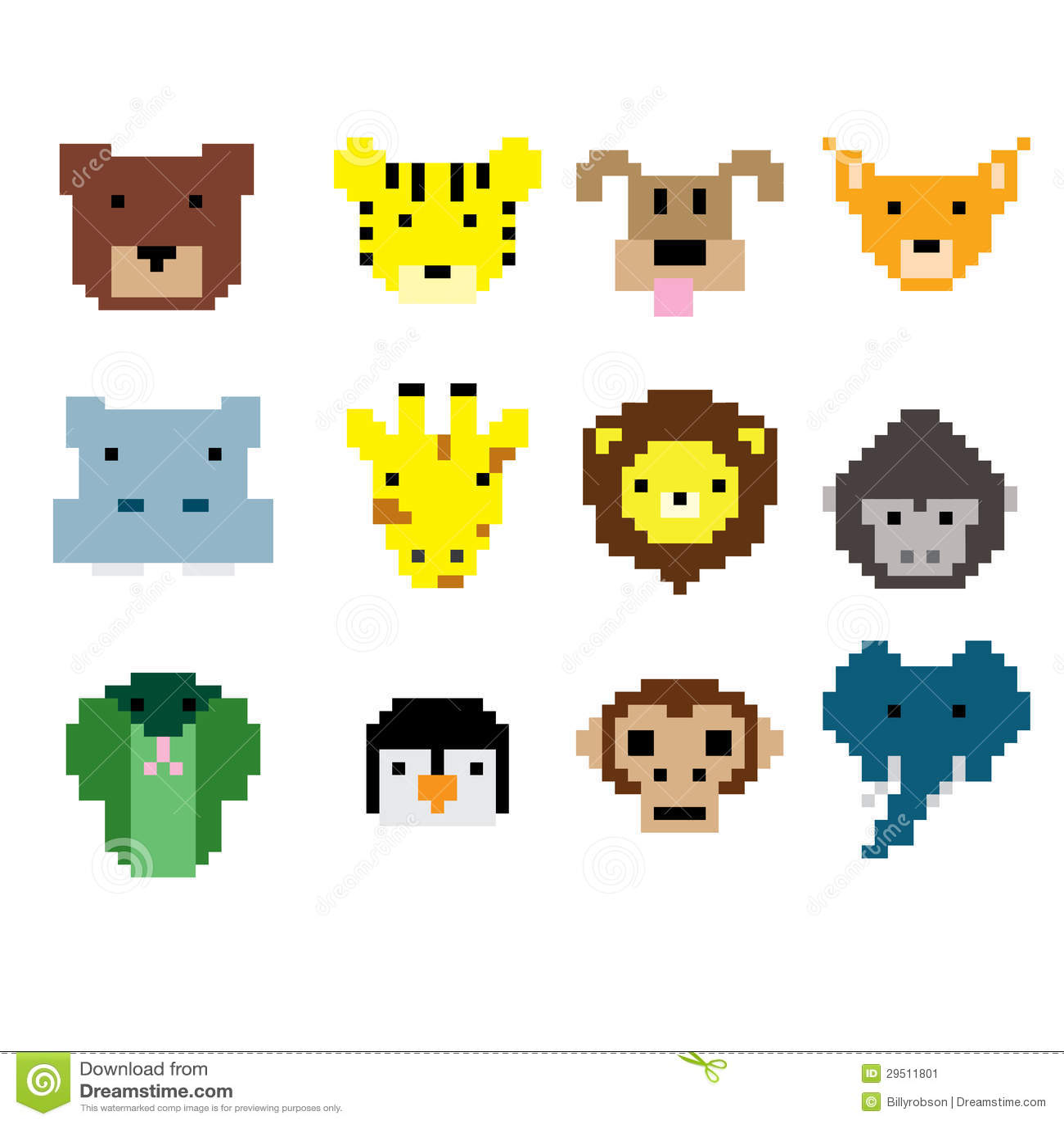 Fronti dell animale di arte del pixel