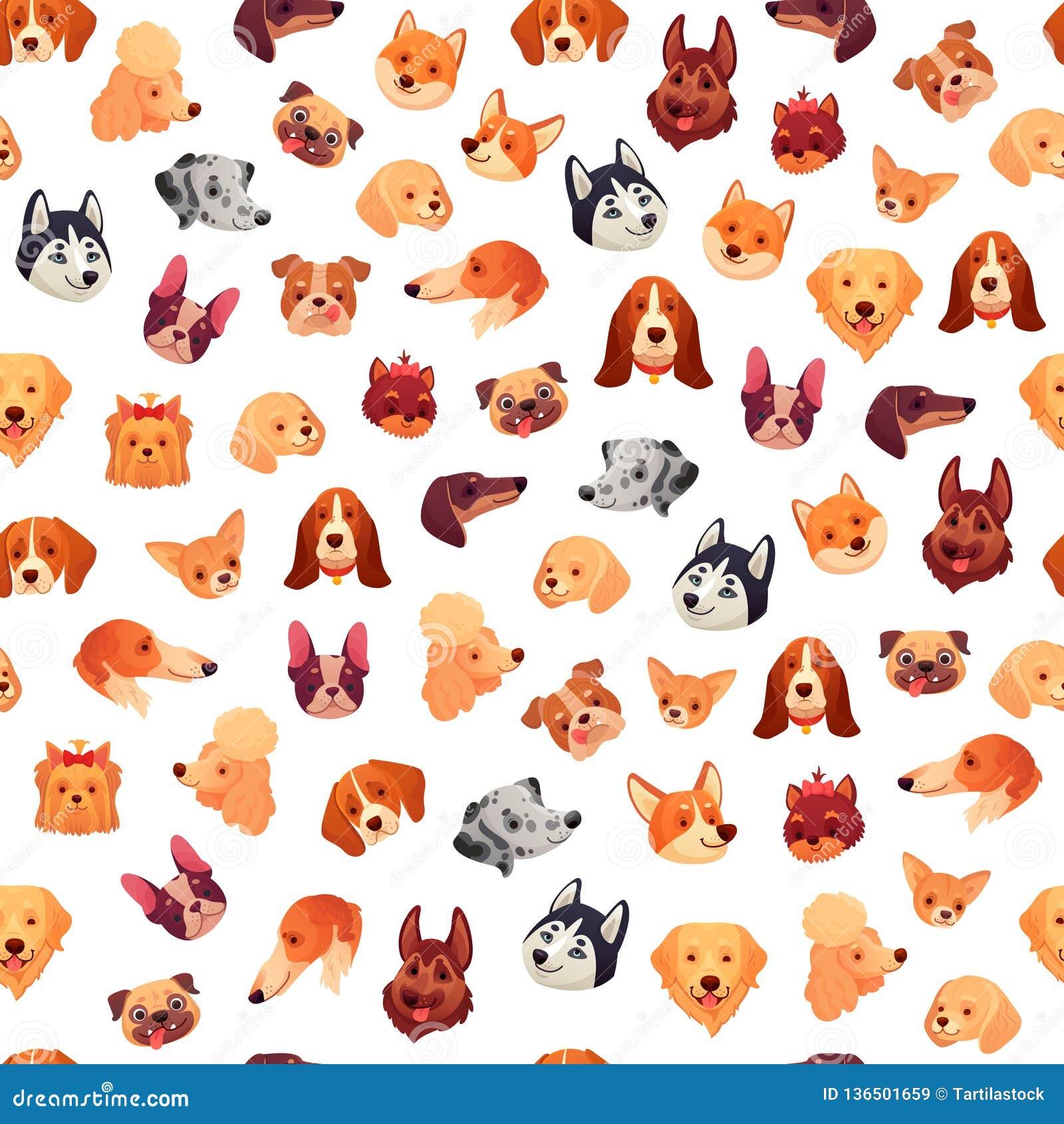 Fronti senza cuciture dei cani Fronte del cane, testa dell animale domestico del cucciolo e modello divertenti del fondo di vetto