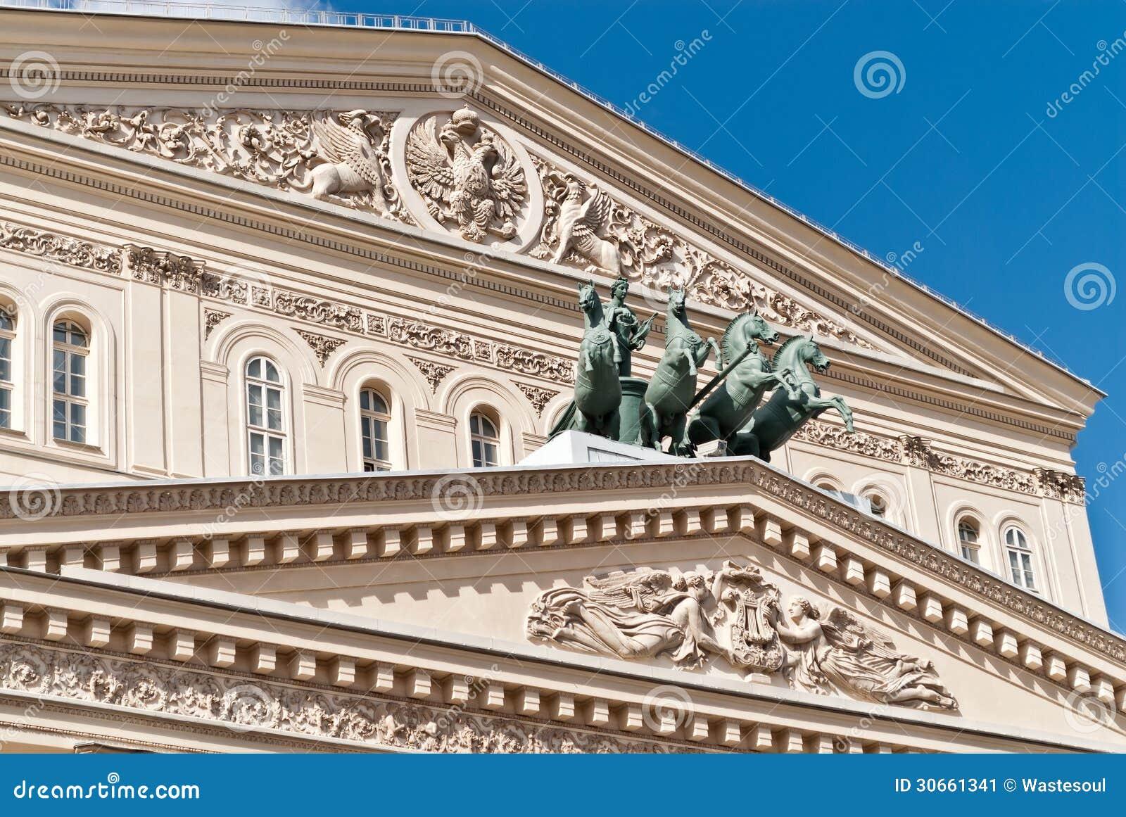 Fronton des großen Theaters Moskaus