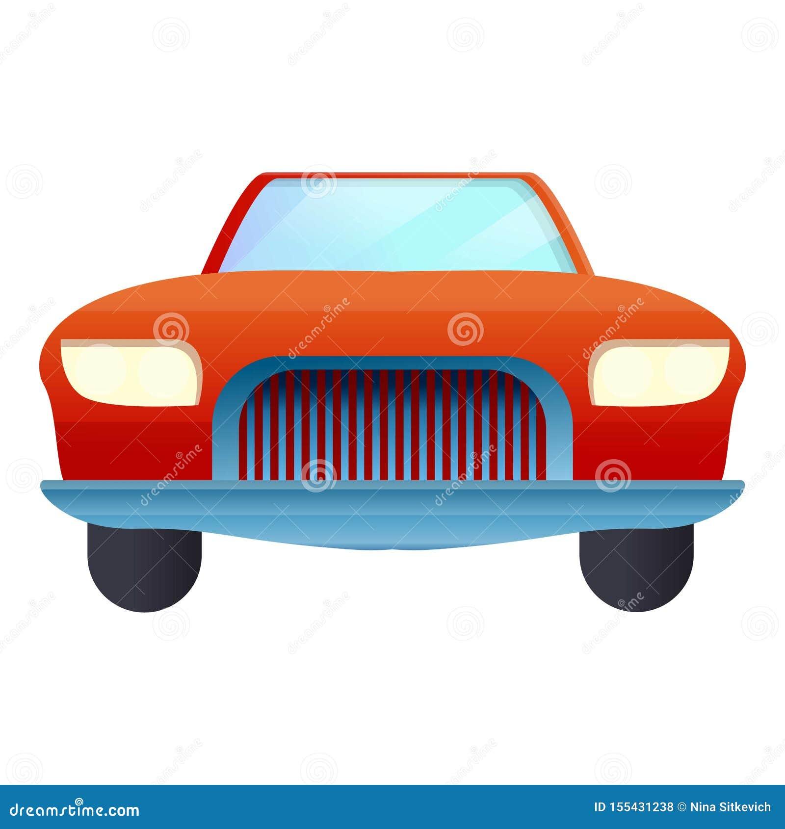 Frontowa czerwona kabriolet ikona, kreskówka styl