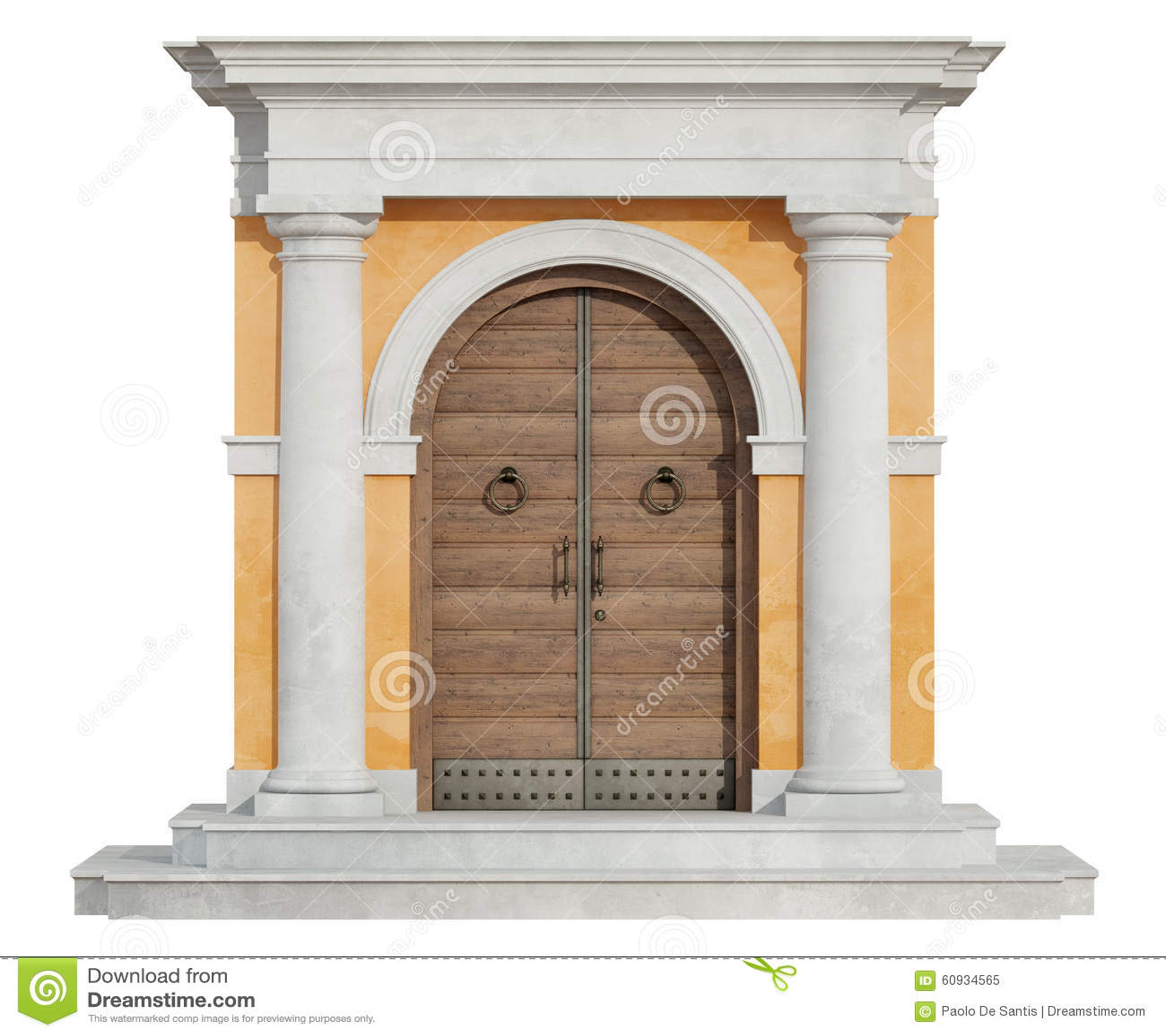 Frontowy widok klasyczny portal w Tuscany rozkazie