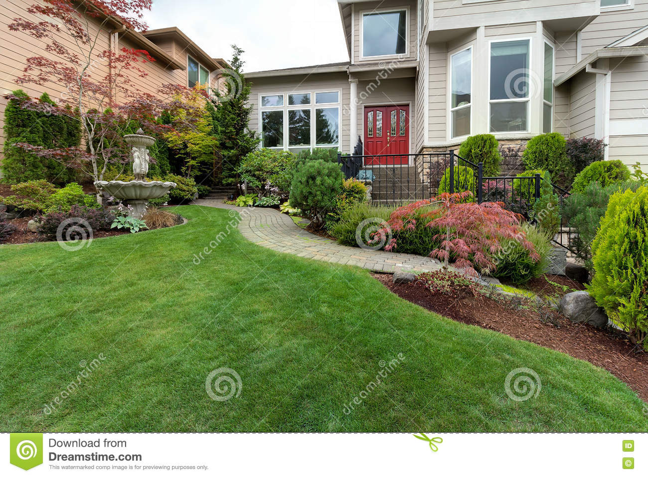 Frontyard Of House With Water Fountain Stock Photo Image Of