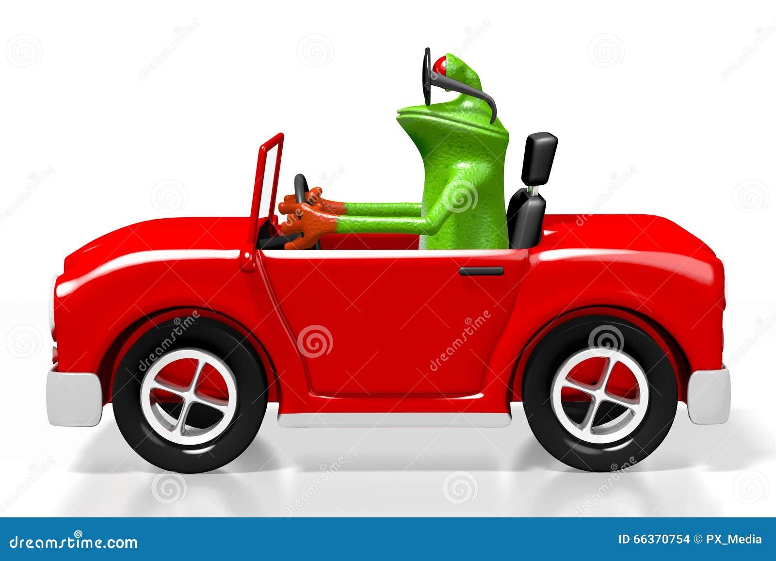 Frosch Der Karikatur 3d Und Ein Auto Stock Abbildung Illustration