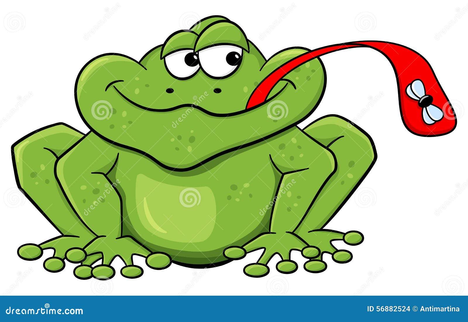 Froschfänge fliegen mit seiner Zunge