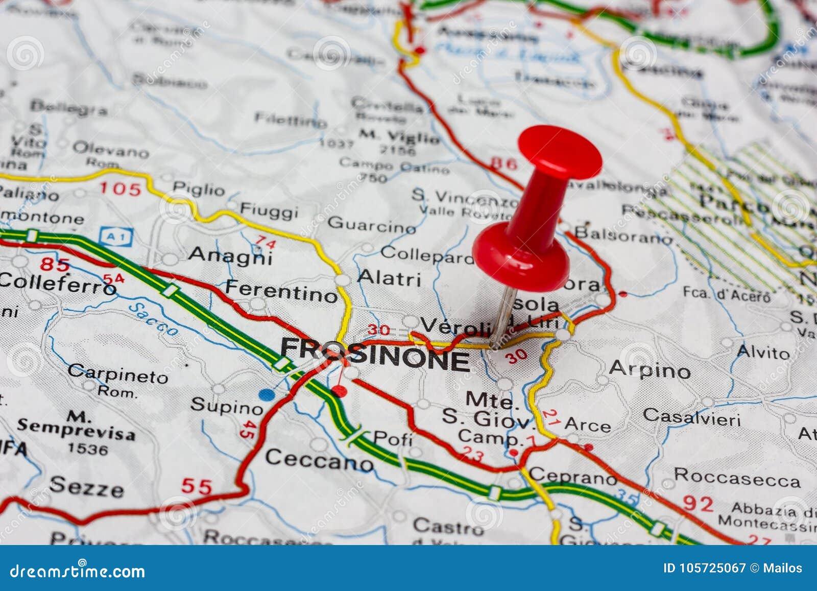 Frosinone Italy Map.Frosinone Pinned On A Map Of Italy Stock Image Image Of Italy