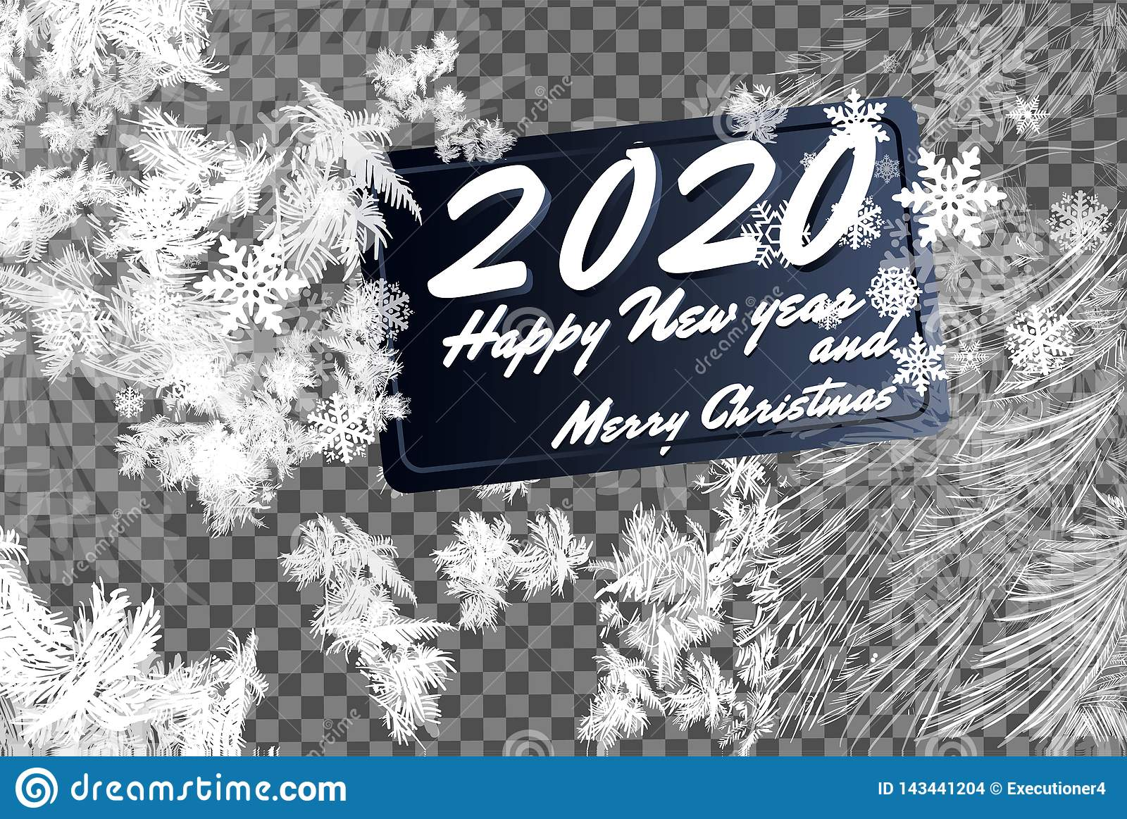 Christmas 2020 Graphic Transparent 2020 Frost Glass Pattern. Winter Frame On Transparent Background