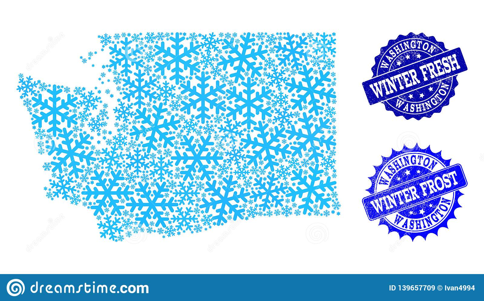 Frost Map of Washington State and Winter Fresh and Frost Grunge Stamps