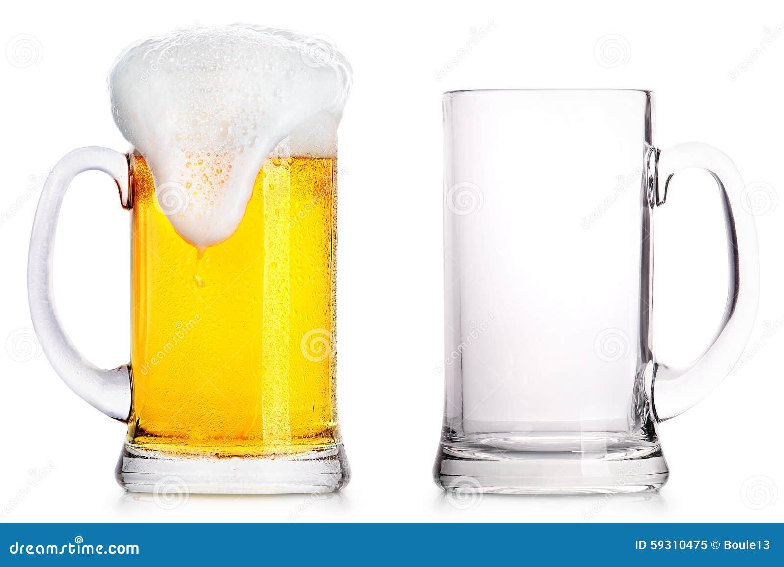 Frostigt exponeringsglas av ljust öl och tömmer en