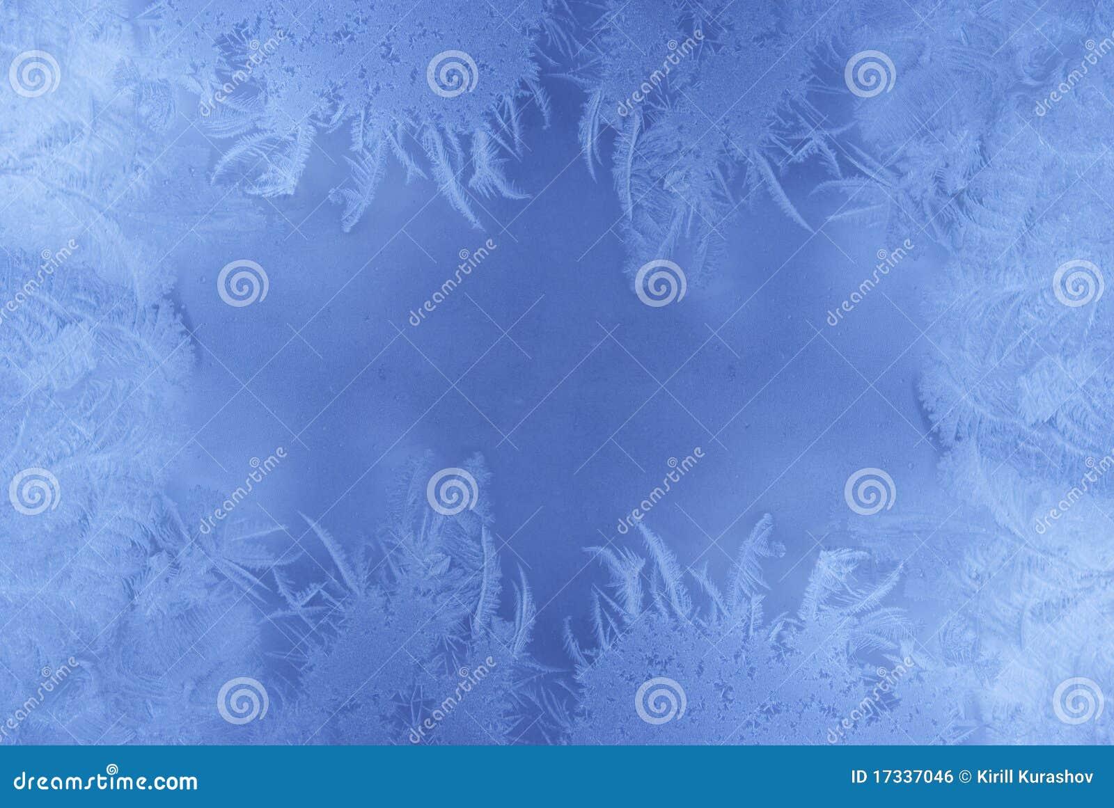 Frostmuster auf einem Fensterglas