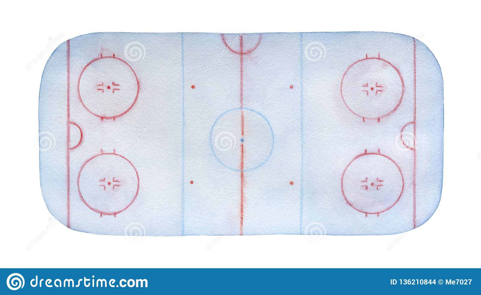 frosty ice hockey rink watercolour with lines, marks, circles, zones and  positions