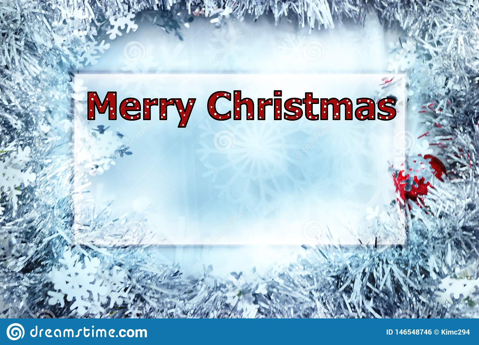 Christmas greeting card with the words Merry Christmas in polka dot letters, red and white.