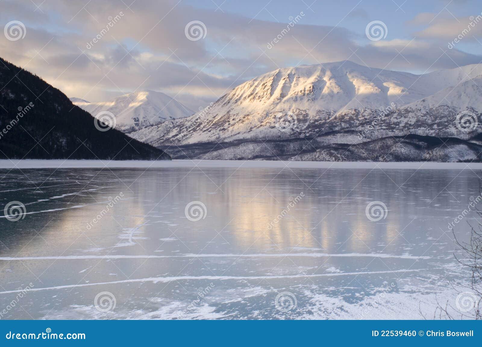Frozen Kenai Lake Seward Hwy Alaska Wilderness