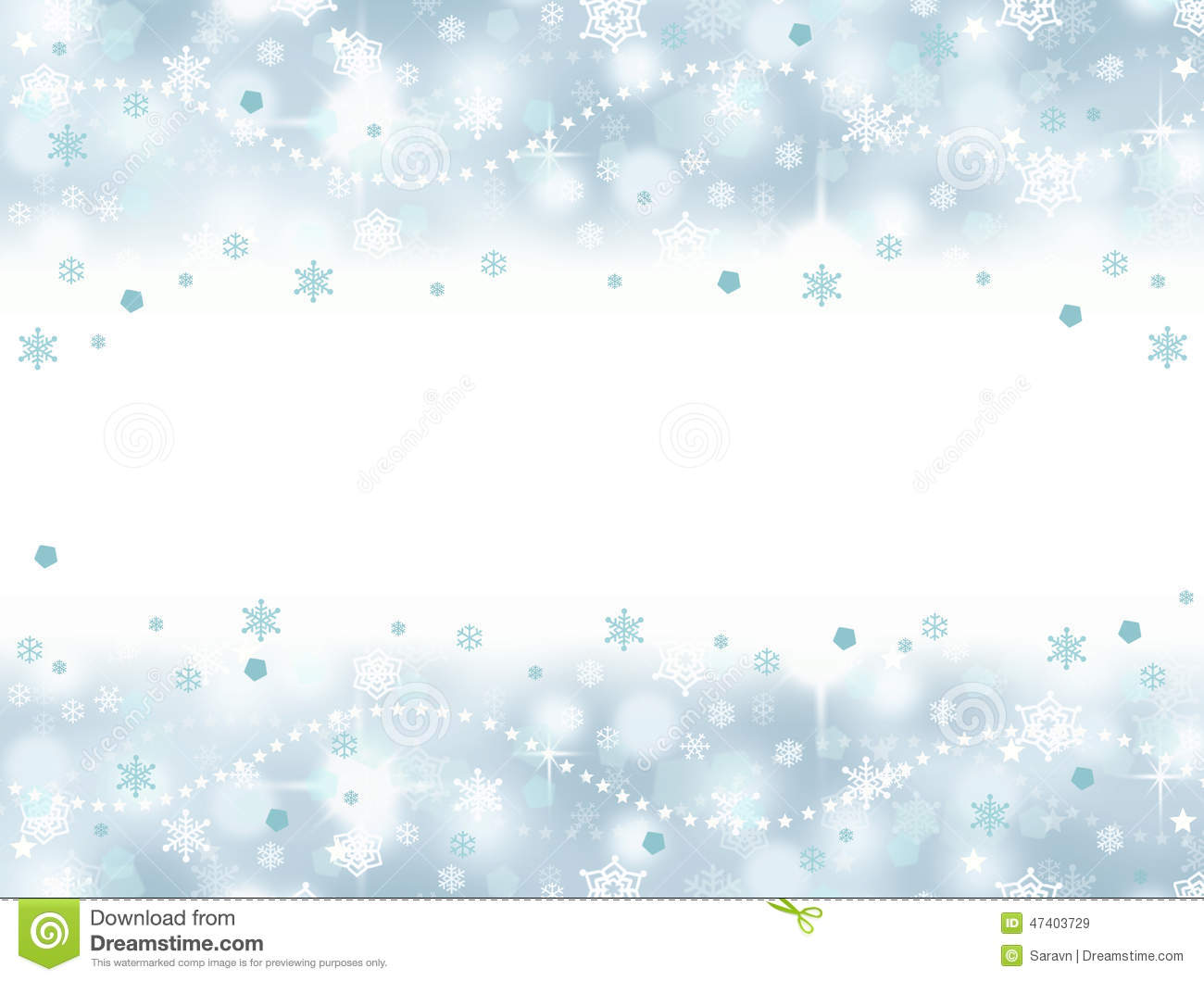 Frozen Winter Aqua Blue Snowflake Party Background With Blank Space