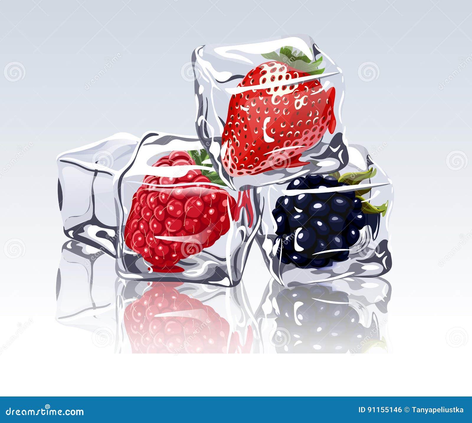 Frozen Berries In Ice Cube