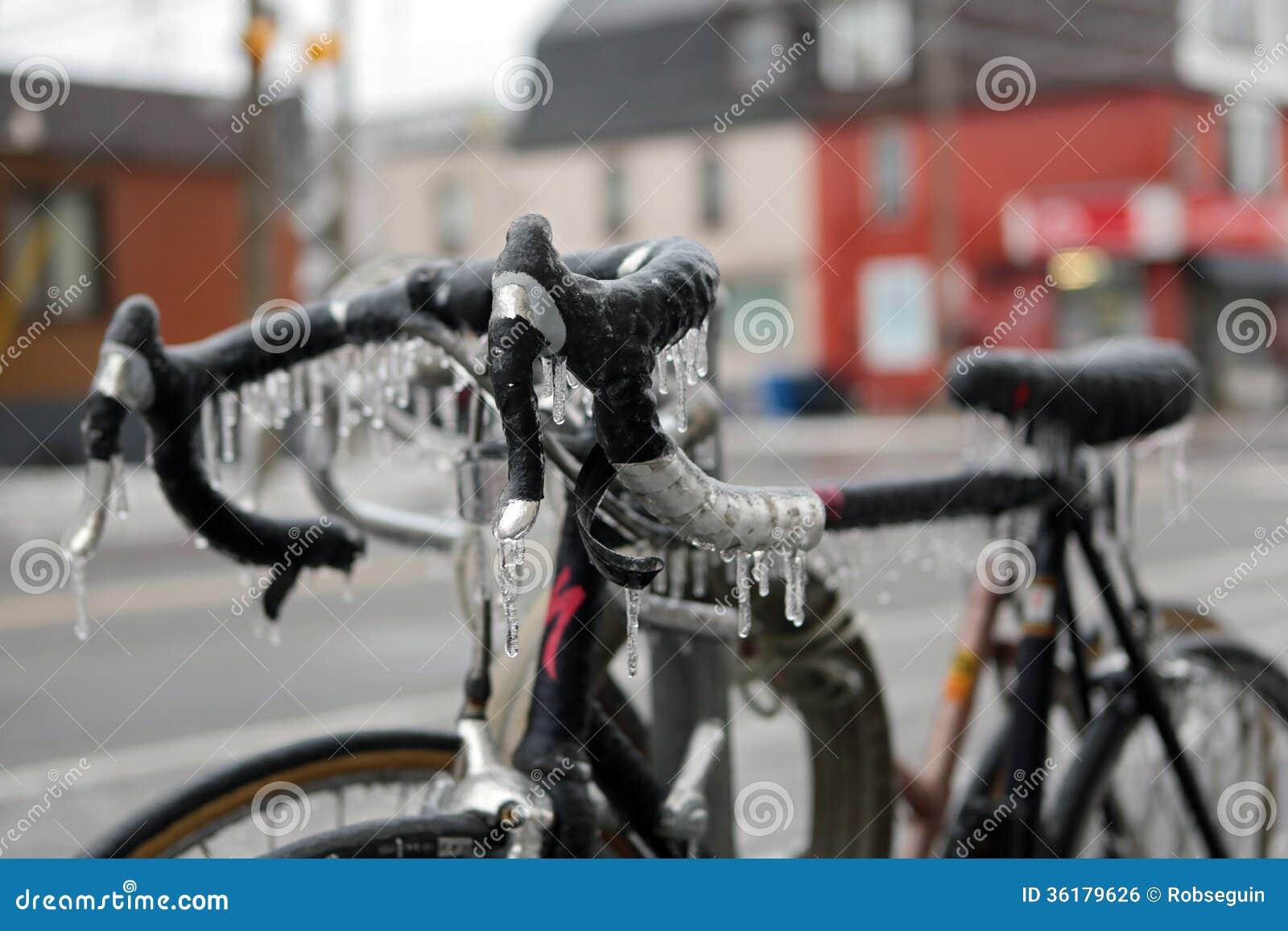 Frozen bicycle stock photo. Image of storm, toronto ...