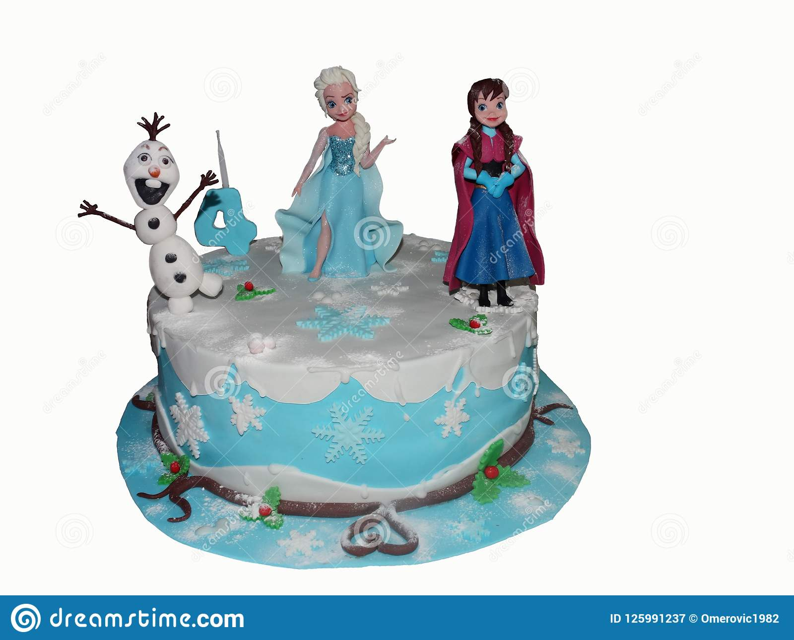 A Birthday Cake For The Fourth BirthdayOn Is Located Cartoon Characters AnnaElsa And Olaf