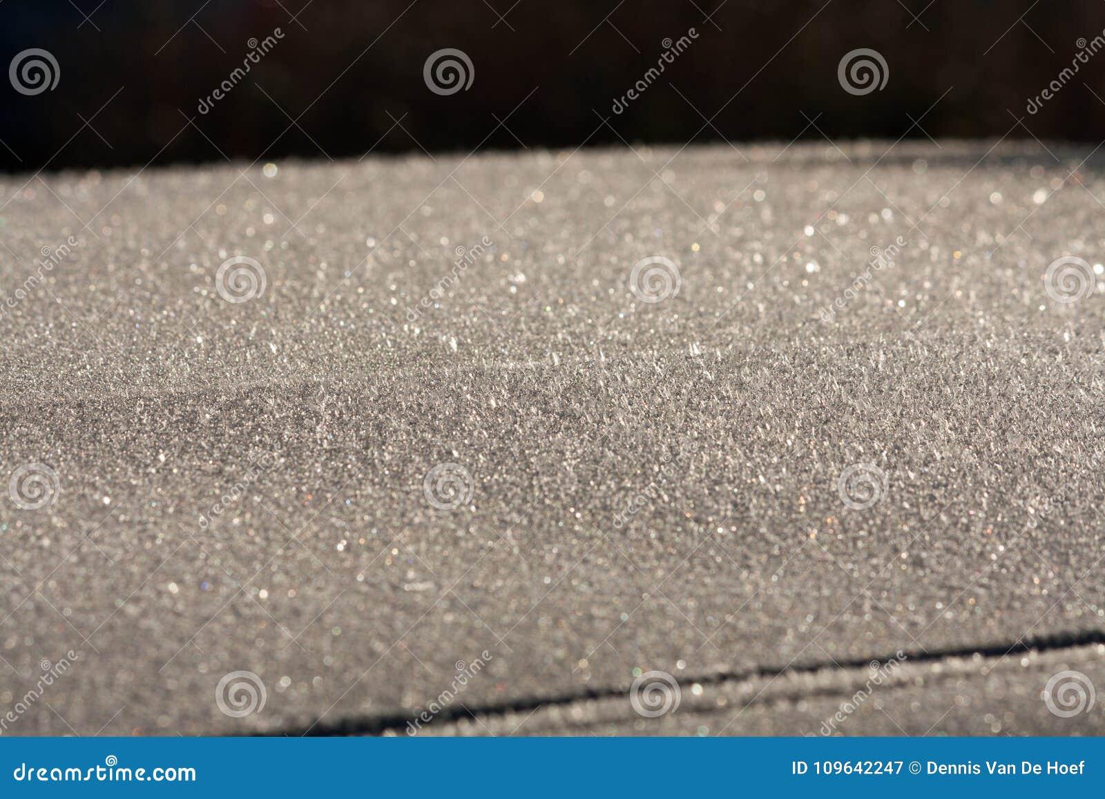 Frozen car roof.