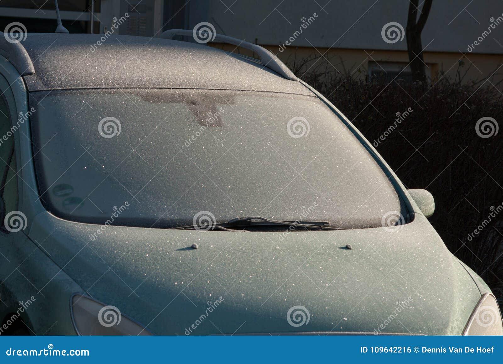 Frozen car window.