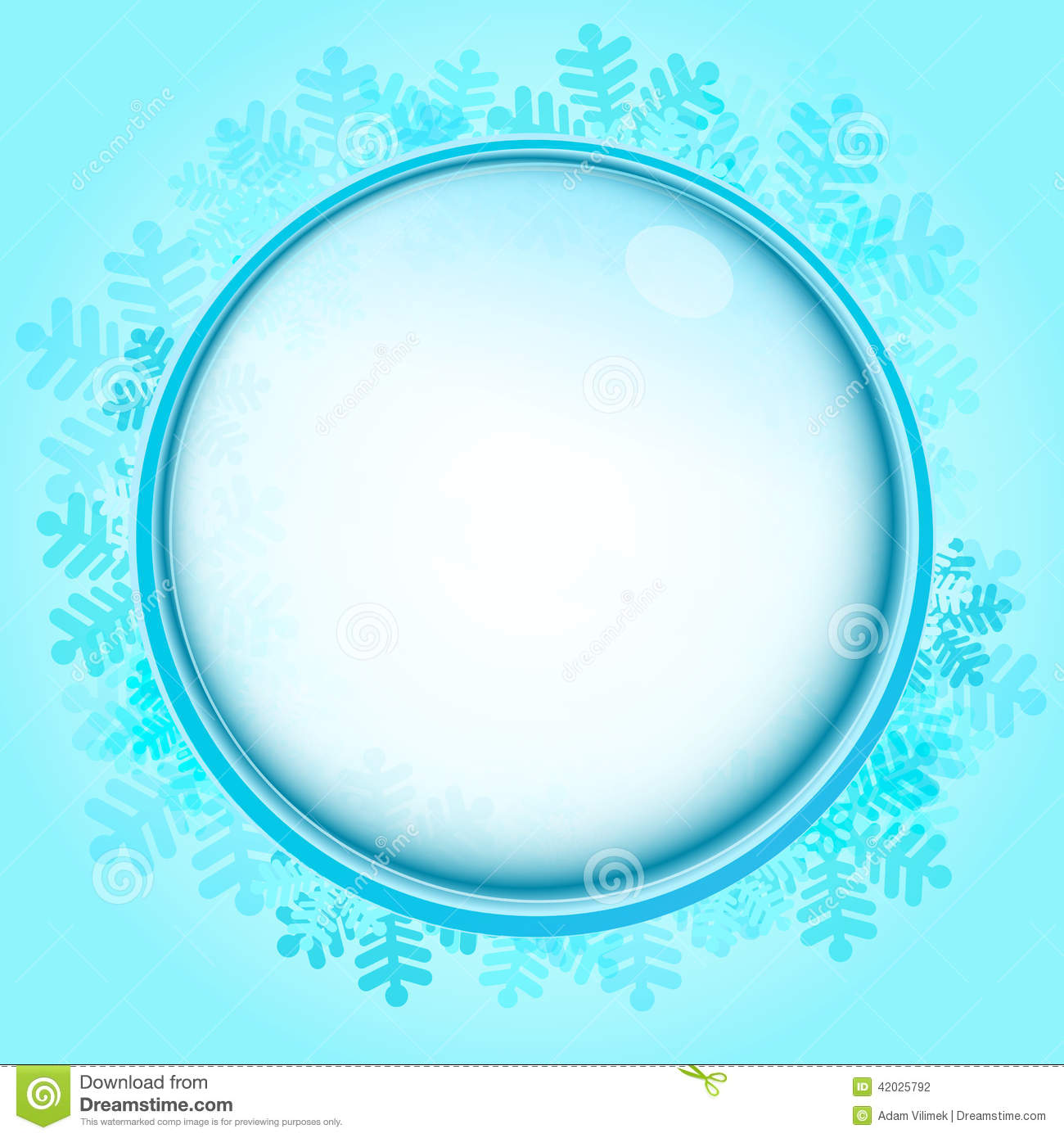 Frozen Circle Frame With Blue Snowflakes Vector Stock Vector ...