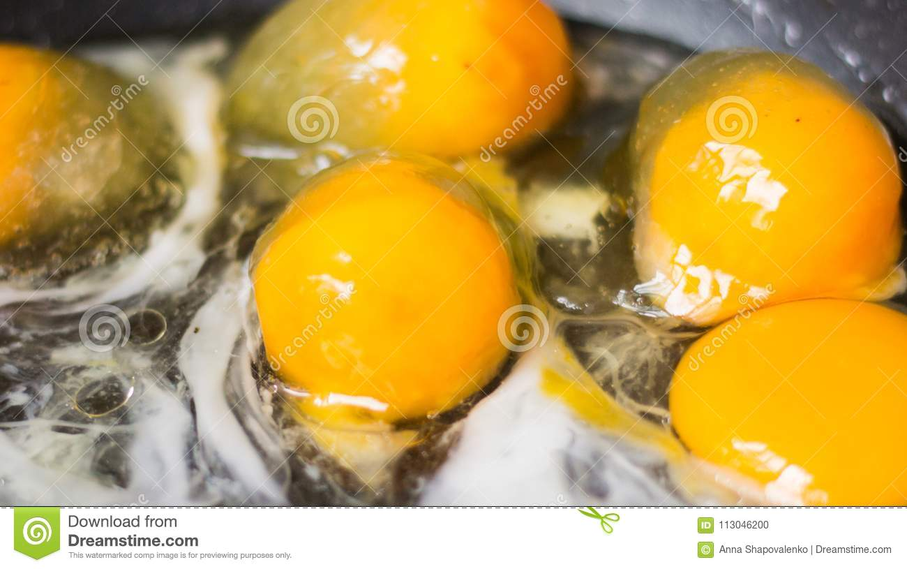 Frozen Eggs On The Pan Cooking Frozen Food Iced Egg White Frying