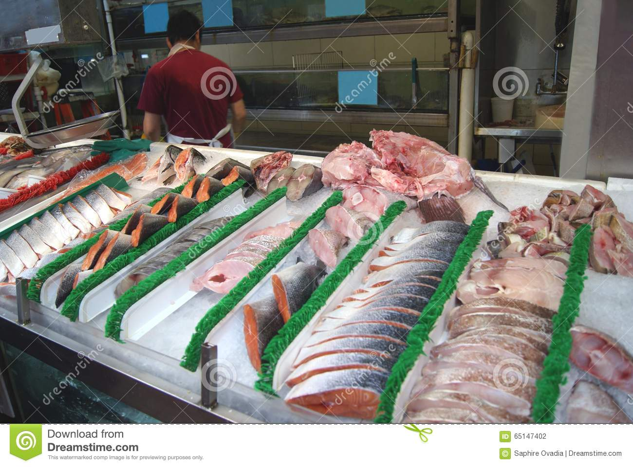 frozen fish in a store at a fish market stock photo