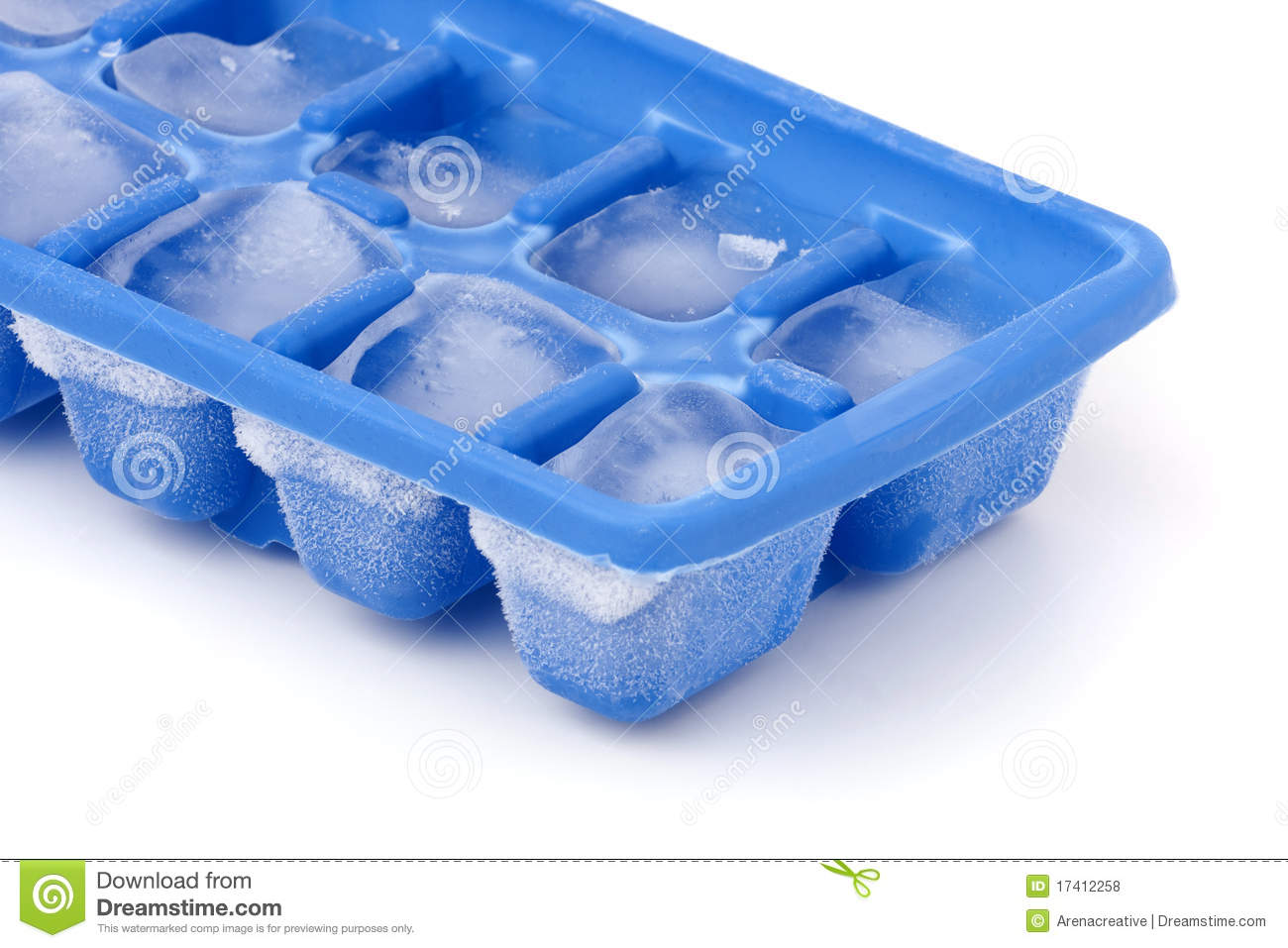 blue plastic ice cube tray with frost on it isolated over a white ...