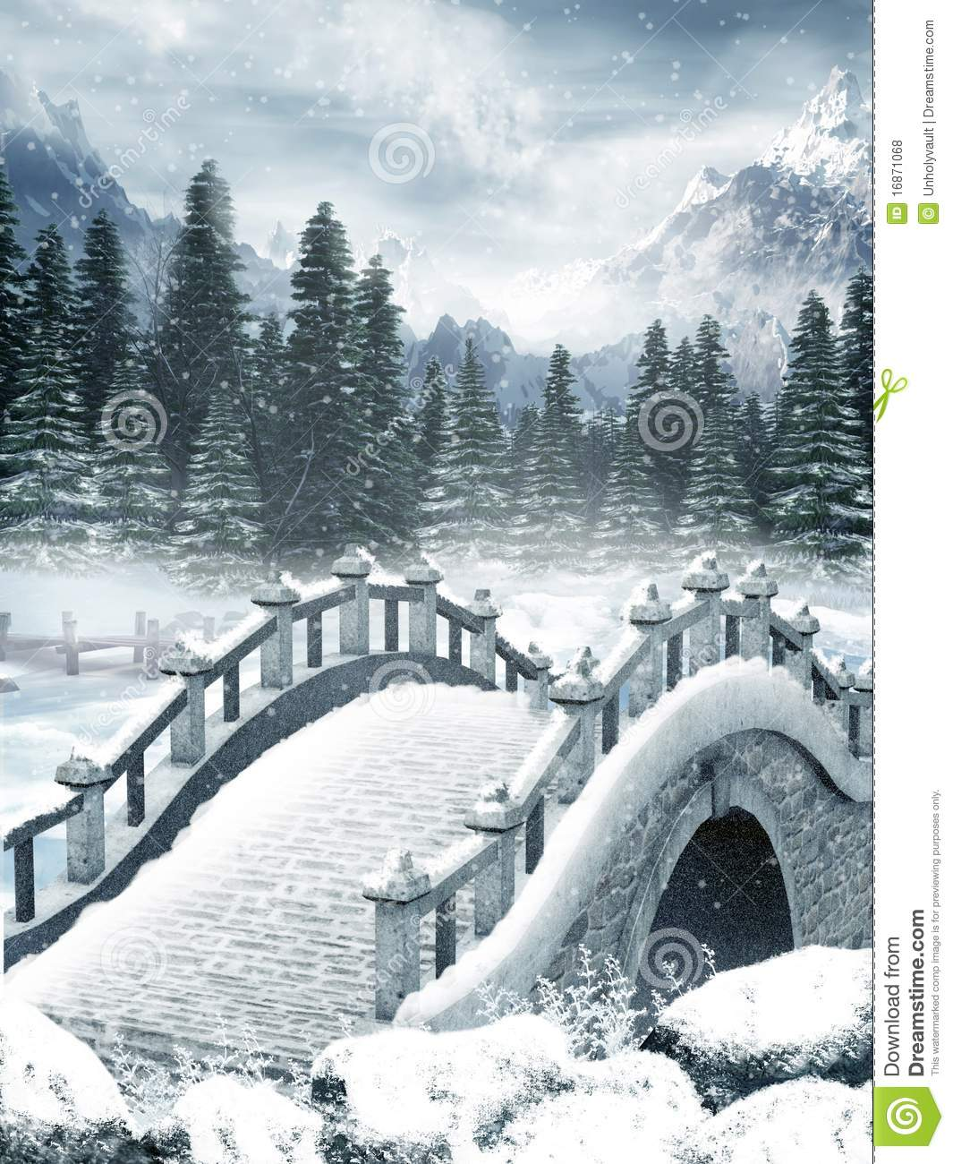 frozen lake with a bridge royalty free stock photos