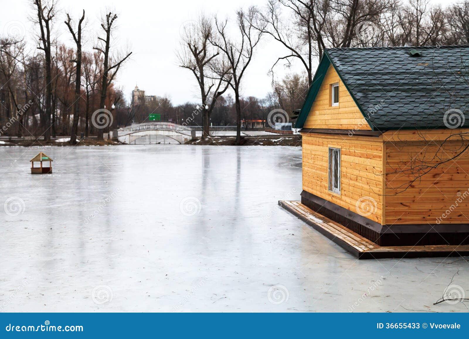 frozen-lake-bridge-wooden-house-winter-day-36655433 Ice House Plans Wooden on folding ice house, pvc ice house, aluminum ice house, motorized ice house,